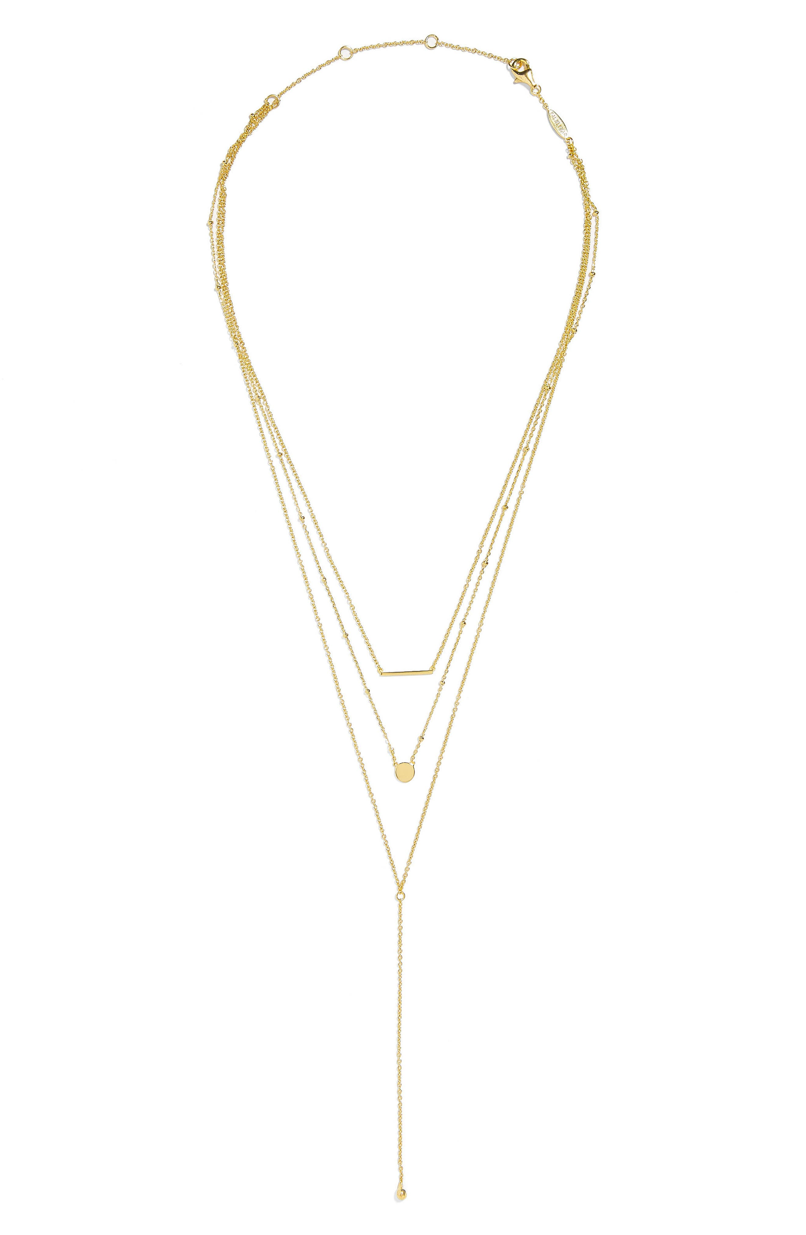 Viva Everyday Fine Layered Pendant Necklace,                             Main thumbnail 1, color,                             Gold