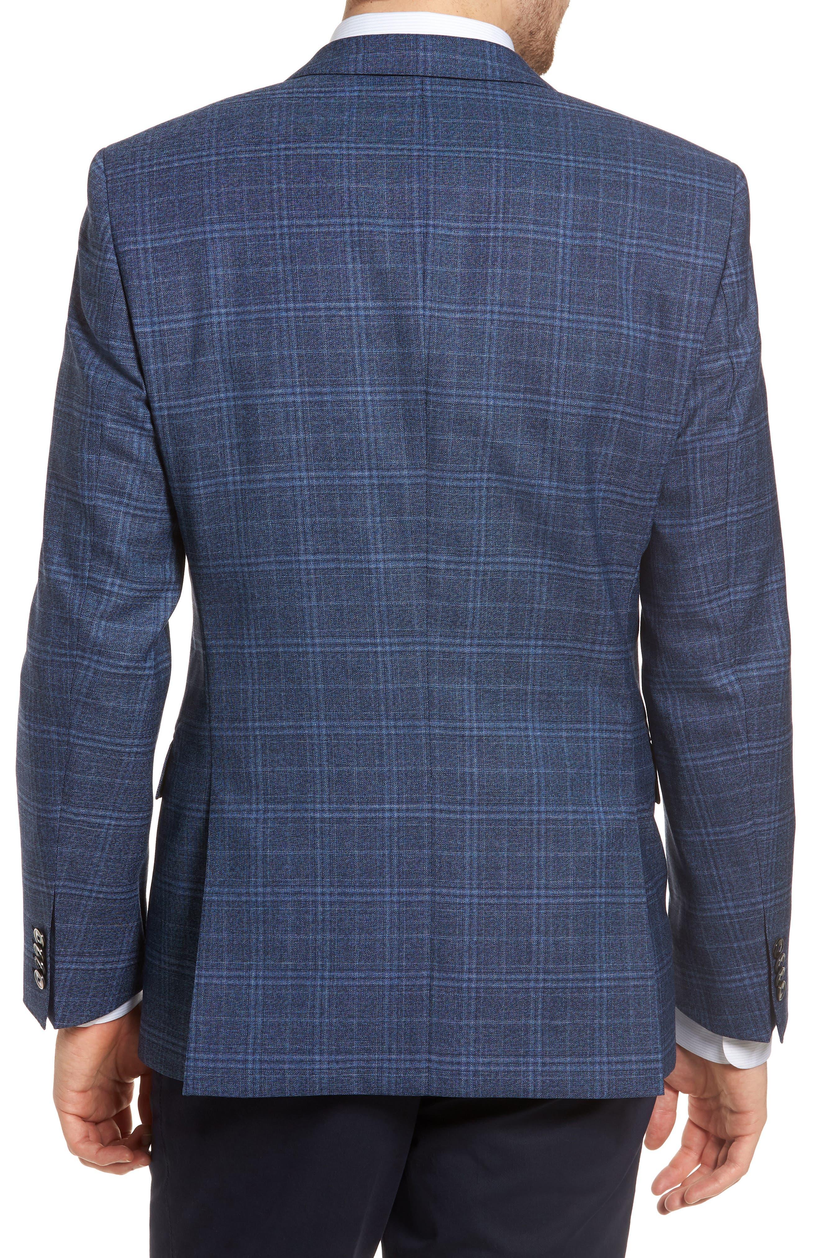 Hutsons Trim Fit Plaid Wool Sport Coat,                             Alternate thumbnail 2, color,                             Medium Blue/ Navy