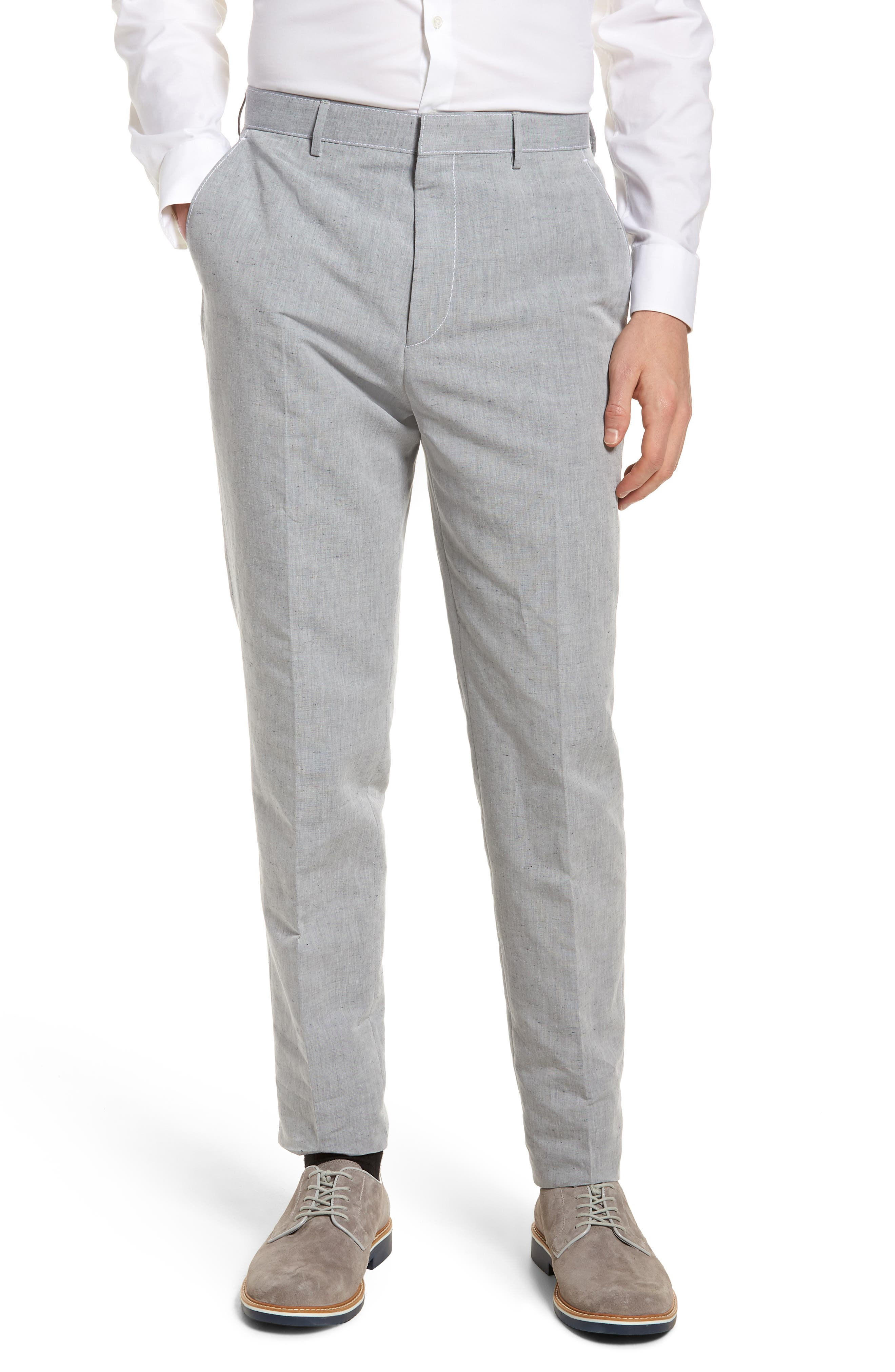 BOSS Pirko Flat Front Linen & Cotton Trousers