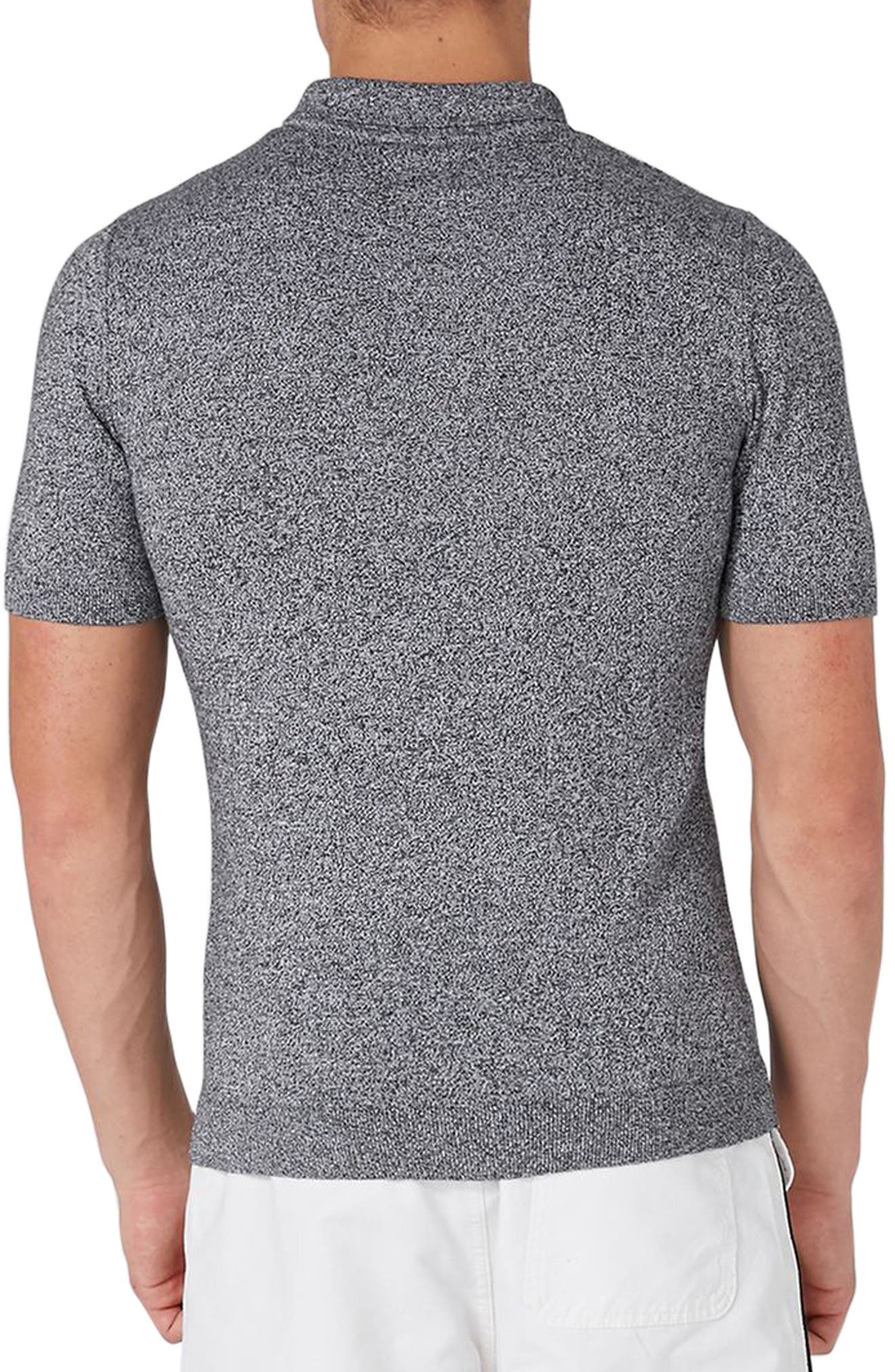 Marled Knit Polo,                             Alternate thumbnail 2, color,                             Grey