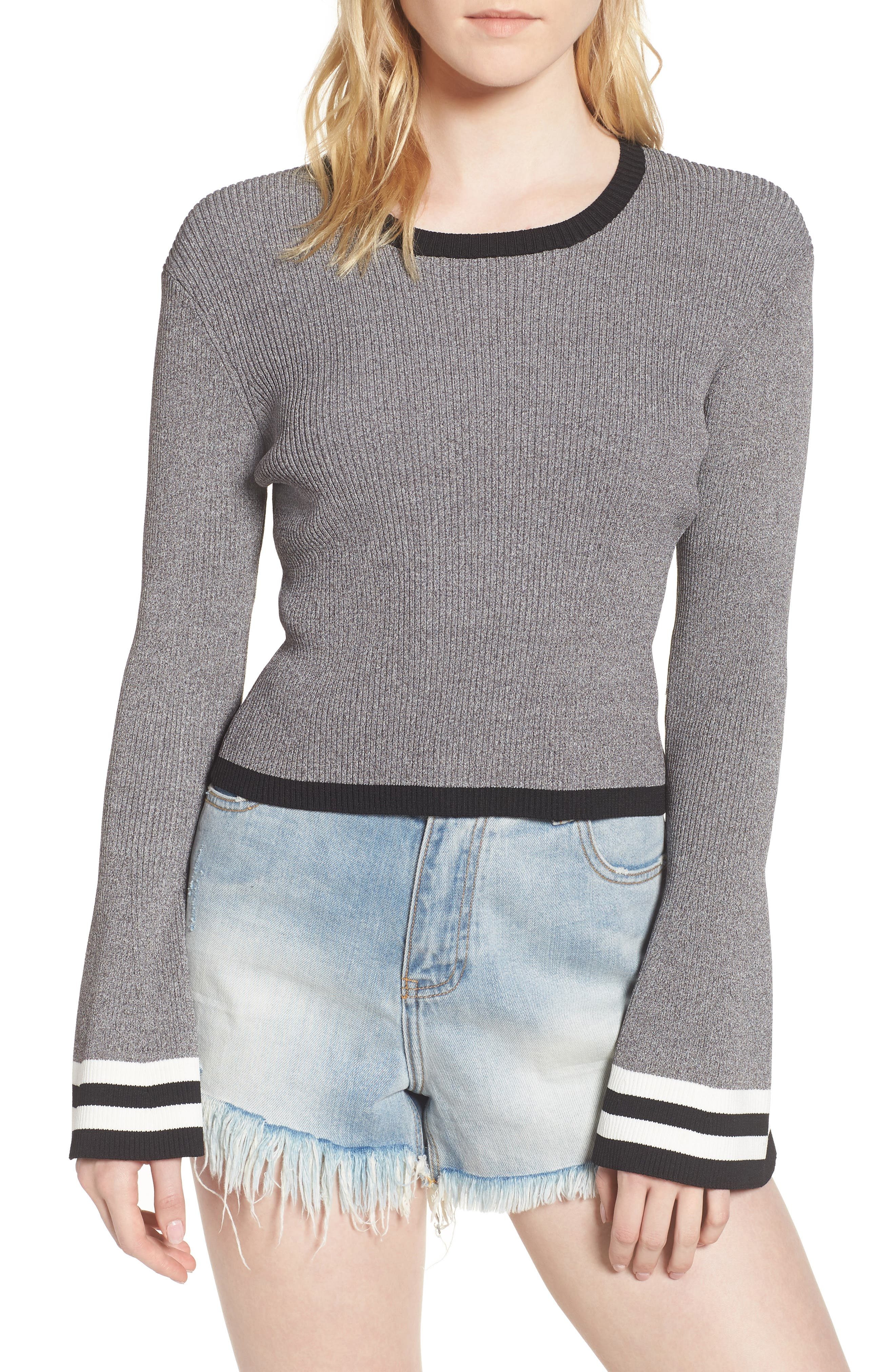 Bell Sleeve Crop Sweater,                             Main thumbnail 1, color,                             Grey