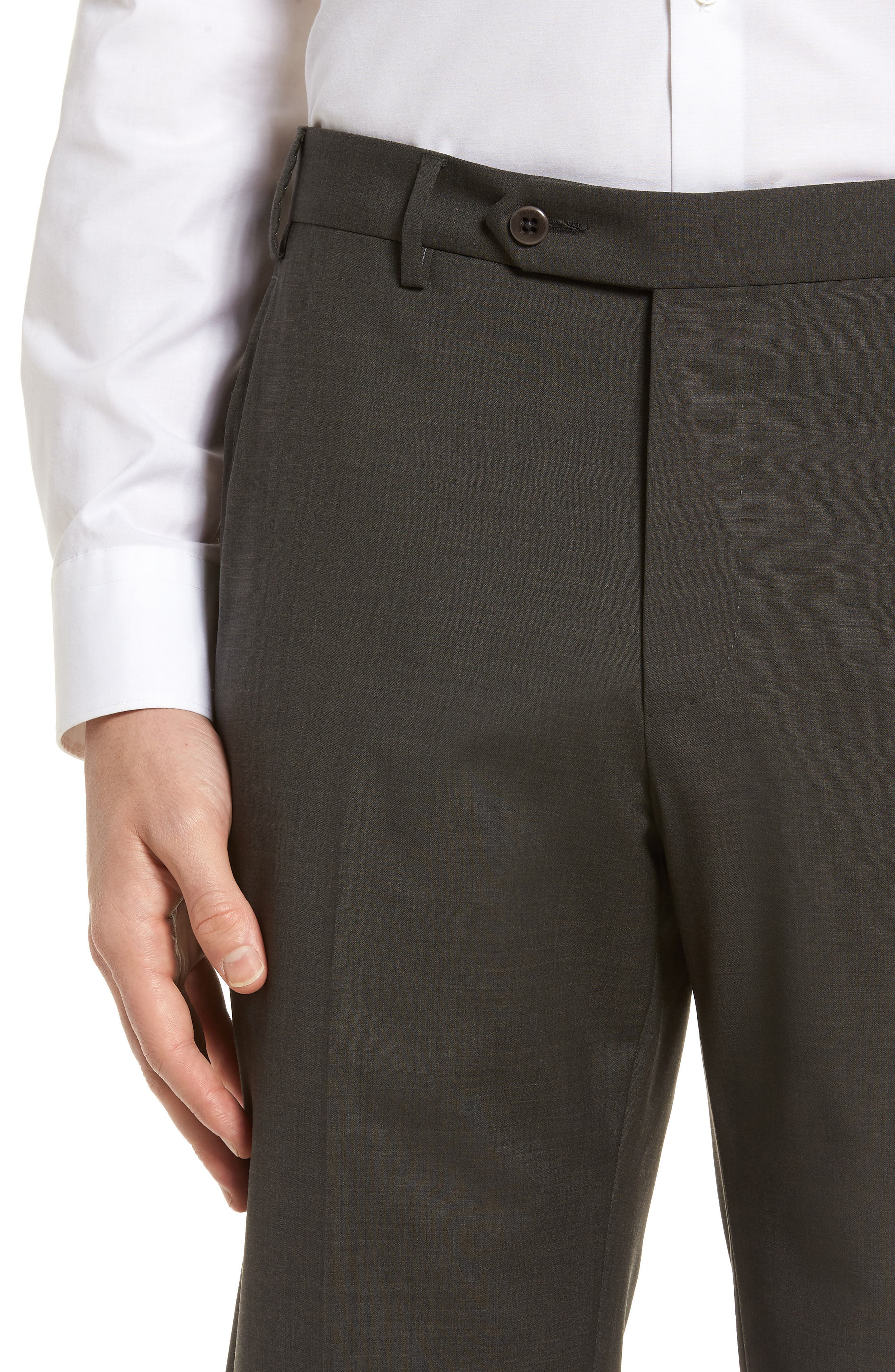 Devon Flat Front Solid Wool Trousers,                             Alternate thumbnail 4, color,                             Olive