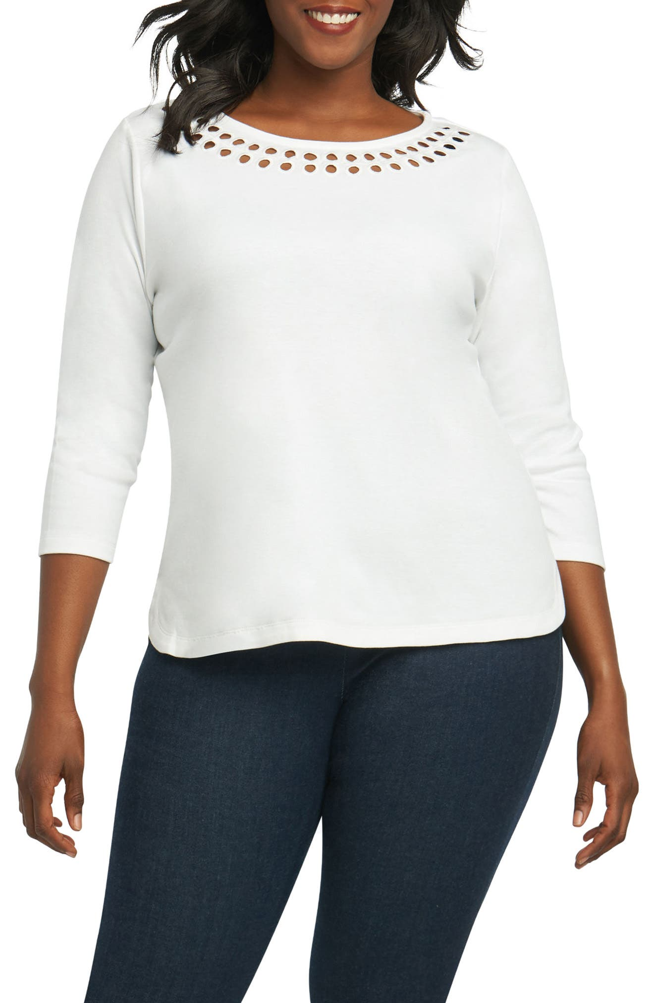 Foxcroft Clara Embroidered Top (Plus Size)