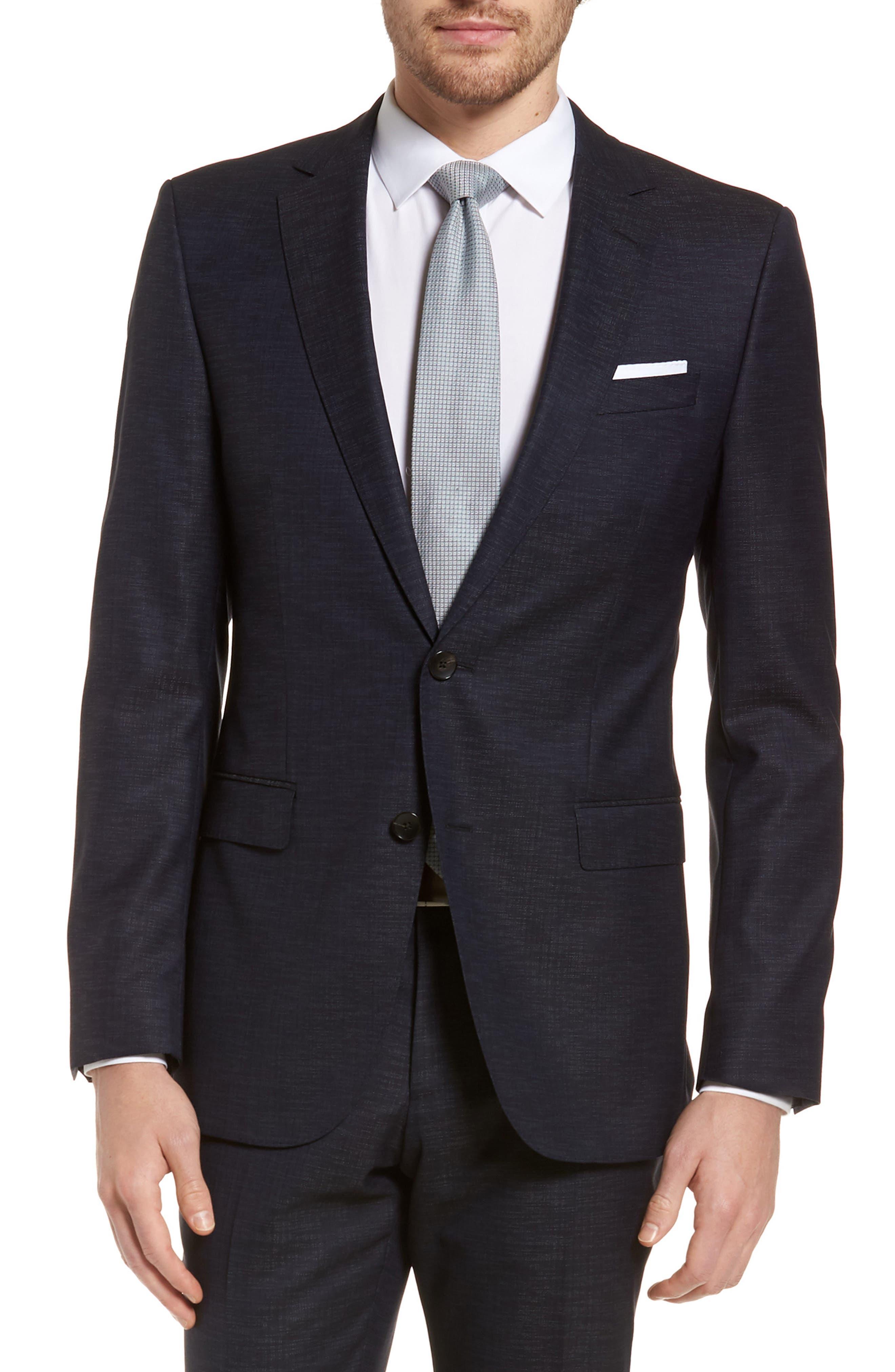 Novan/Ben Trim Fit Solid Wool Blend Suit,                             Alternate thumbnail 5, color,                             Navy
