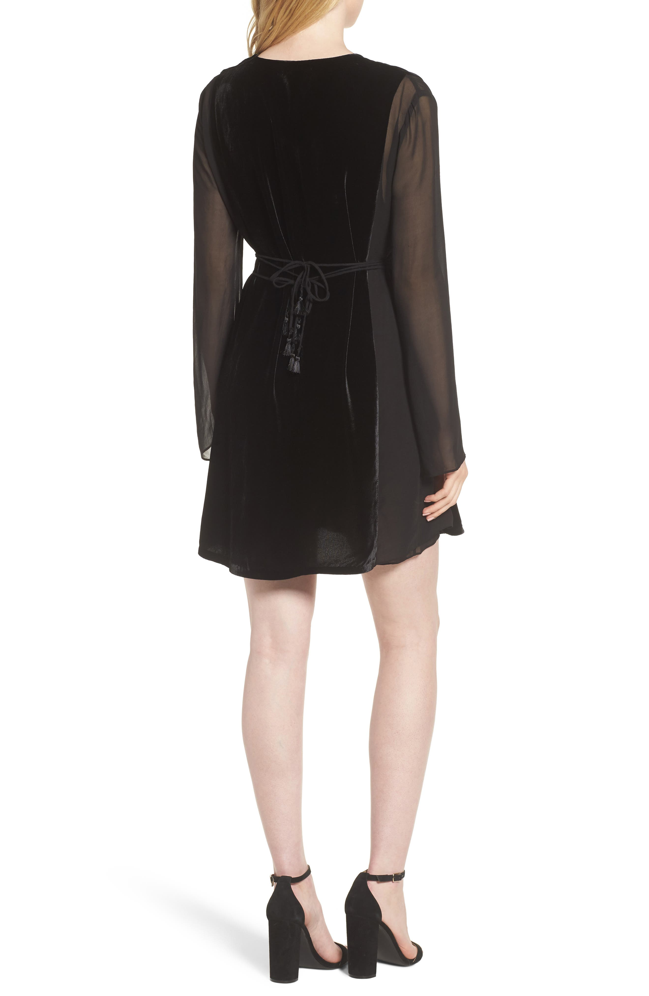 Her Story Velvet Dress,                             Alternate thumbnail 2, color,                             Black