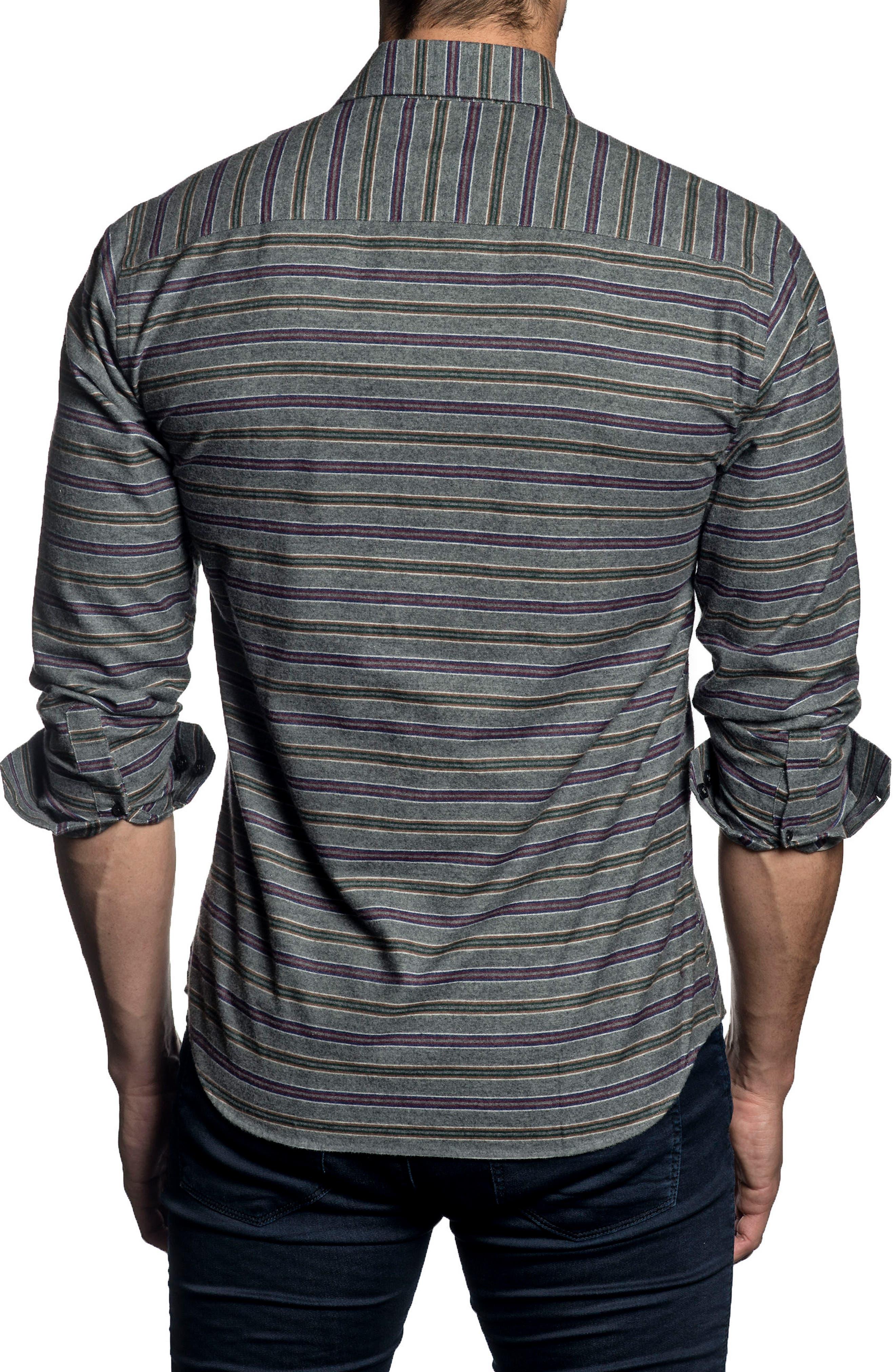 Trim Fit Stripe Sport Shirt,                             Alternate thumbnail 2, color,                             Grey Stripes