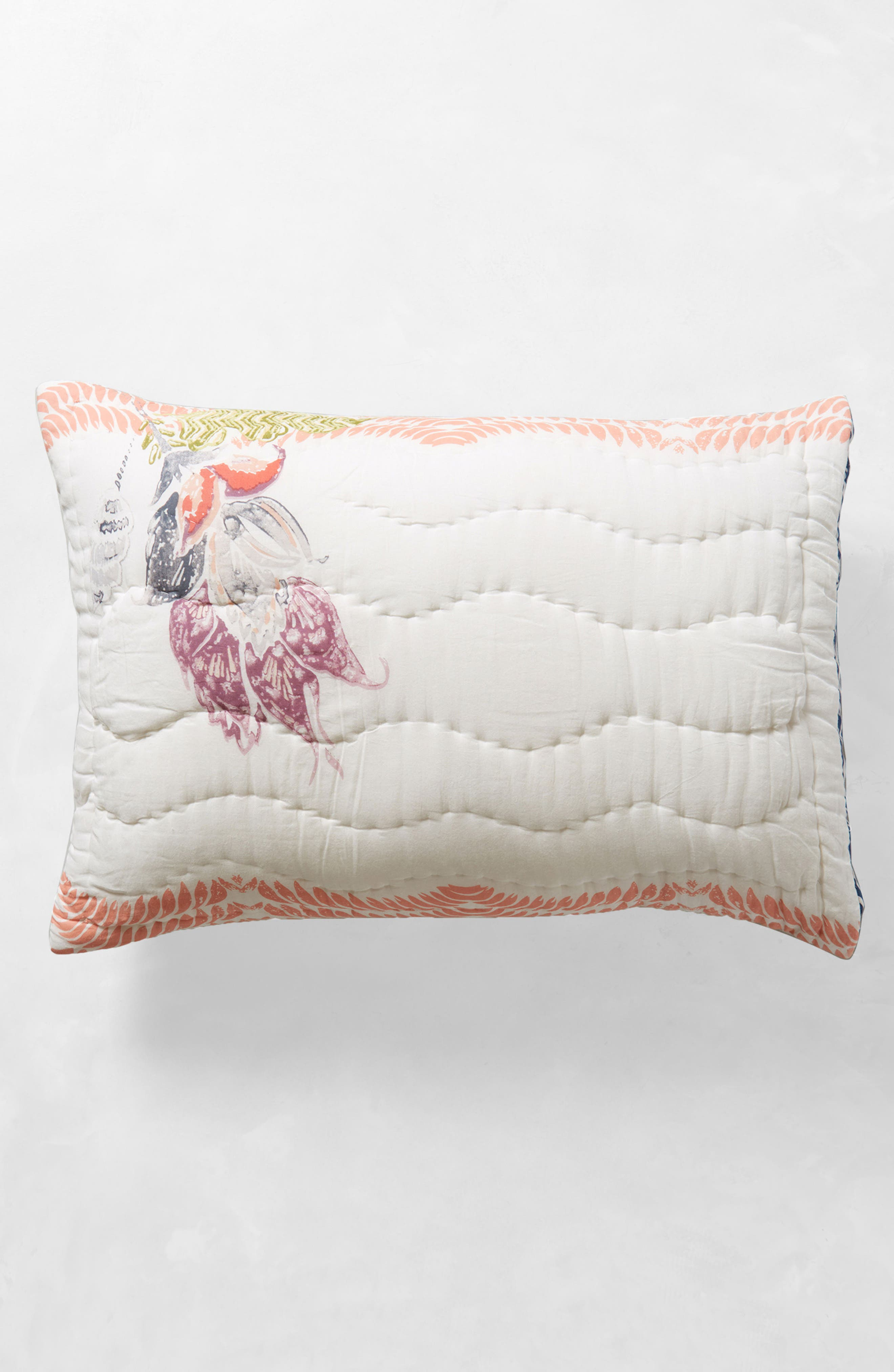 Woodblock Floral Pillow Shams,                             Alternate thumbnail 4, color,                             White Multi