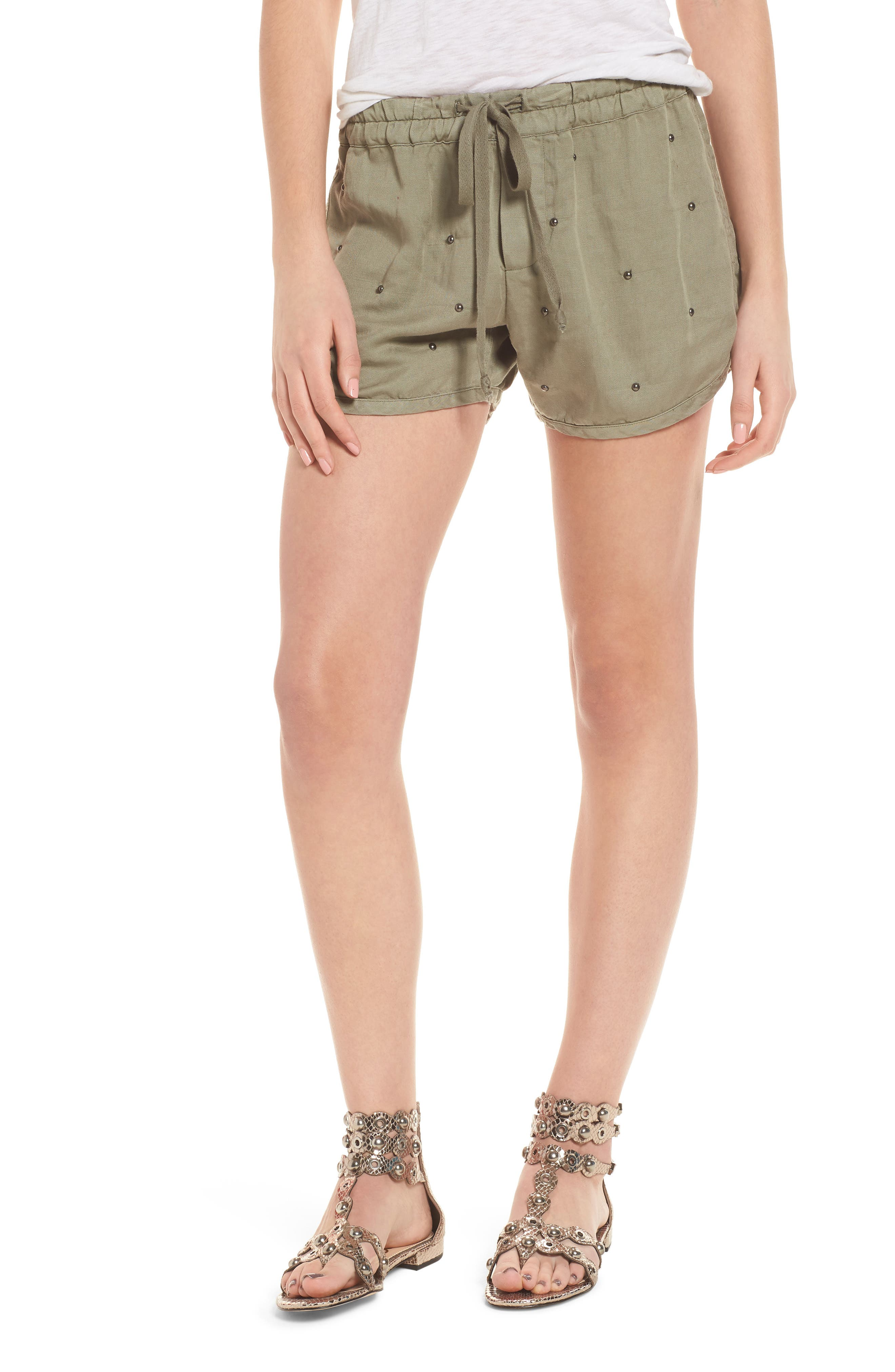 Thatcher Drawstring Shorts,                         Main,                         color, Sage Studded
