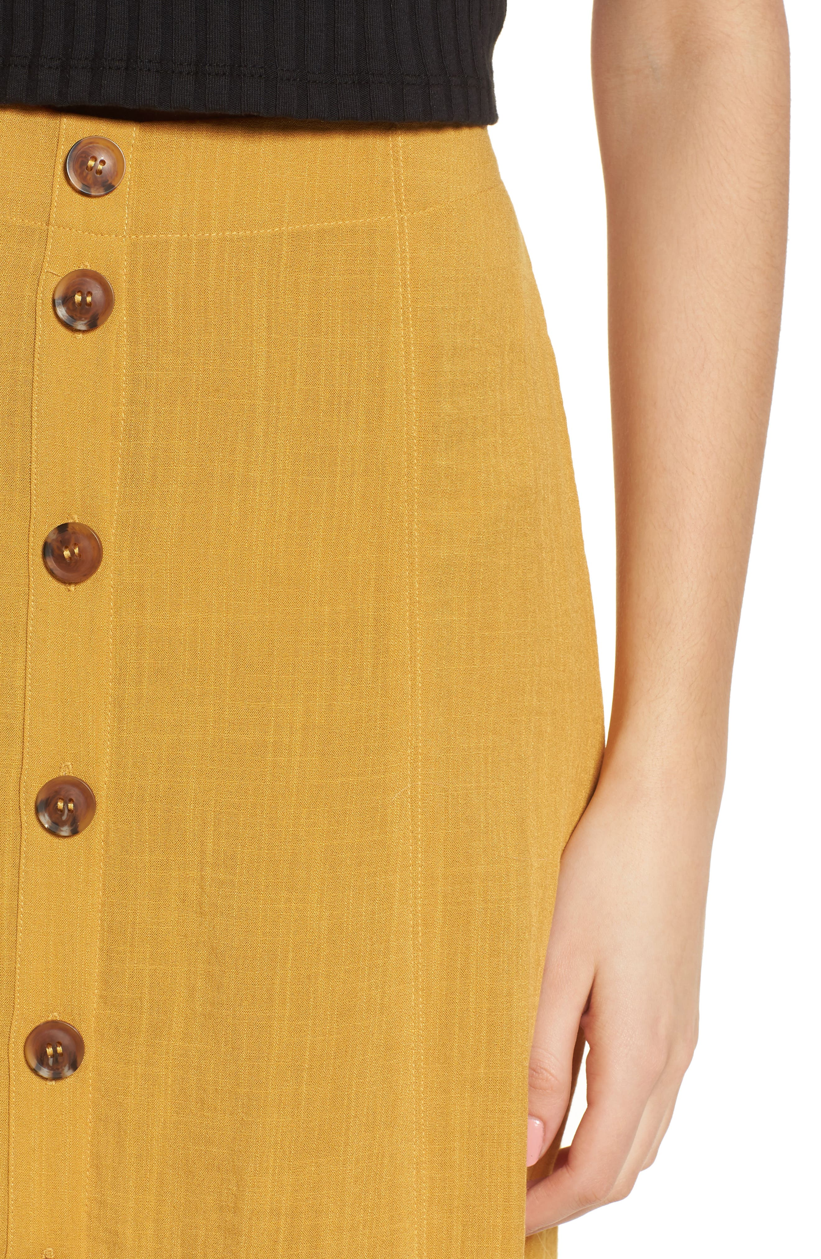 Button Front Midi Skirt,                             Alternate thumbnail 4, color,                             Mustard