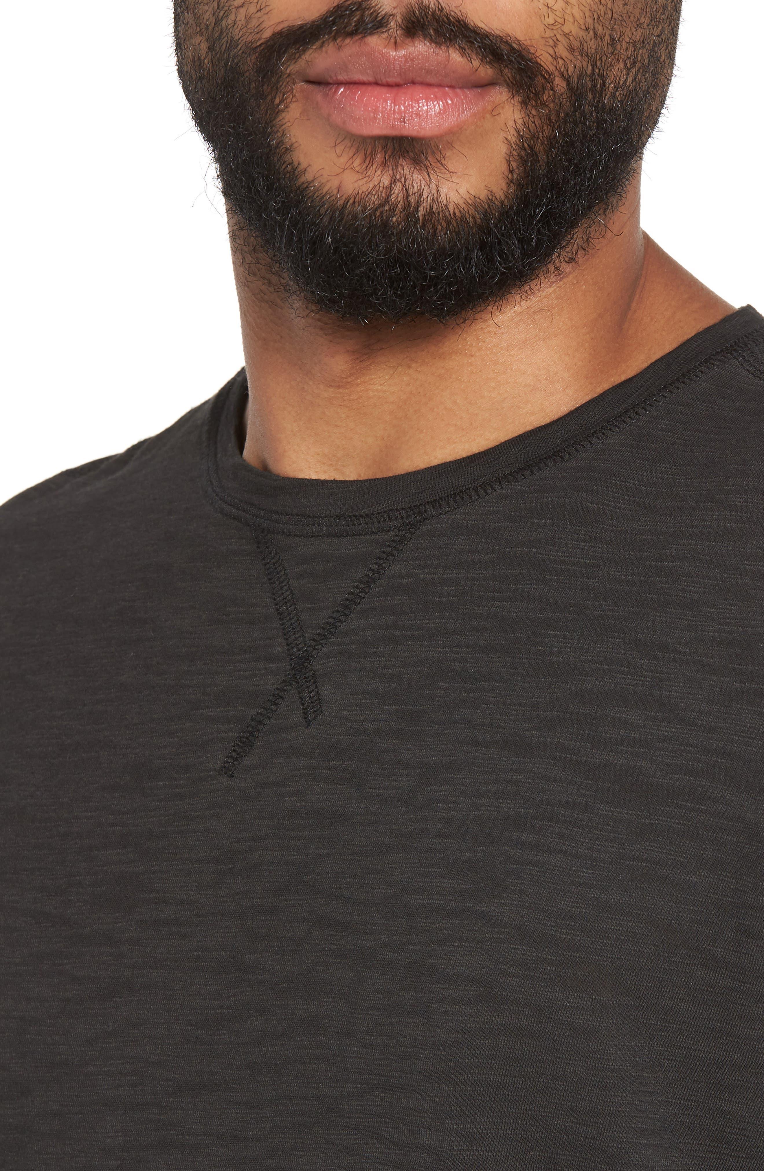 Slim Fit Slubbed T-Shirt,                             Alternate thumbnail 4, color,                             Black