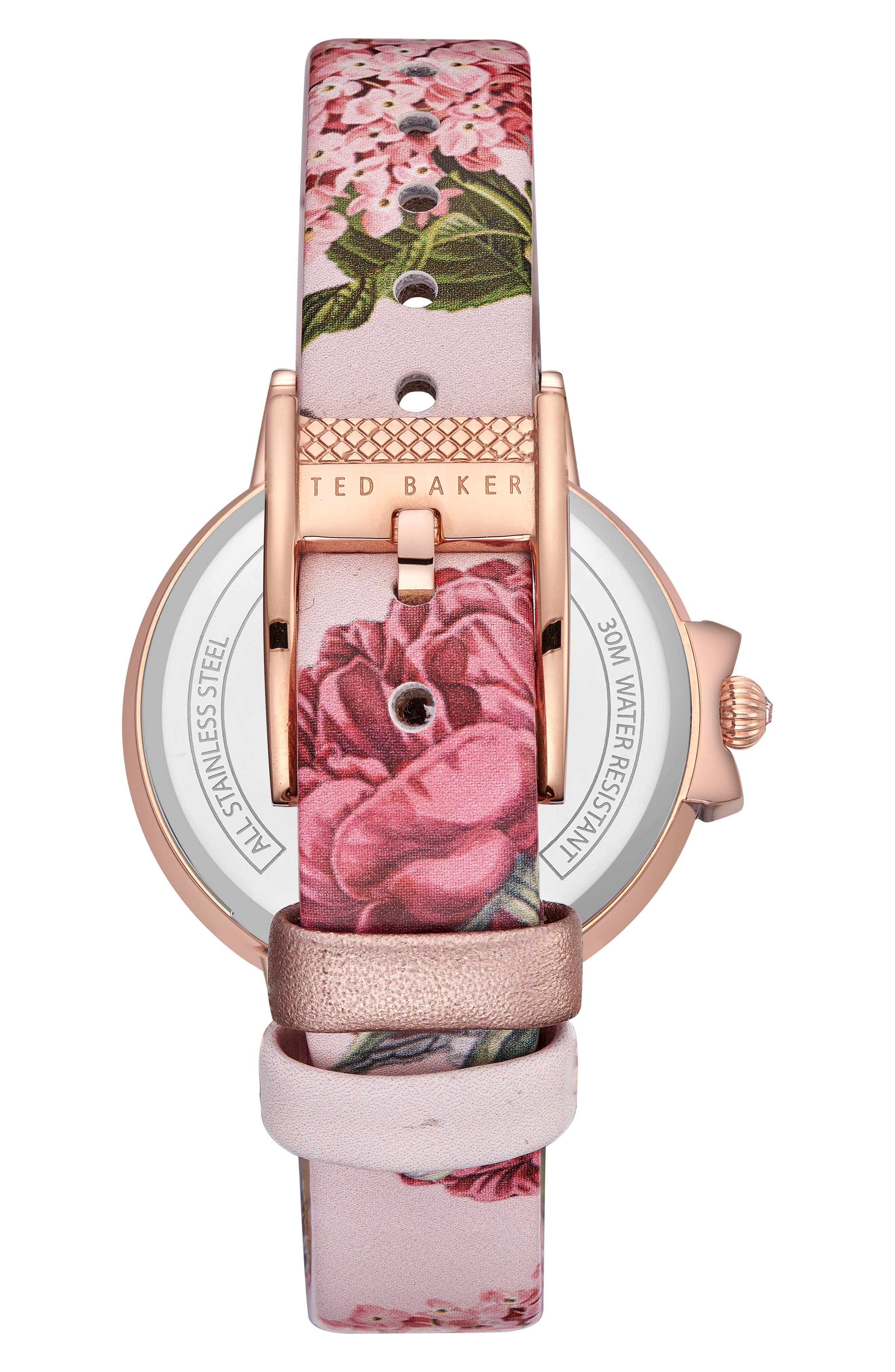 Leather Strap Watch, 36mm,                             Alternate thumbnail 2, color,                             Printed/ Silver/ Rose Gold