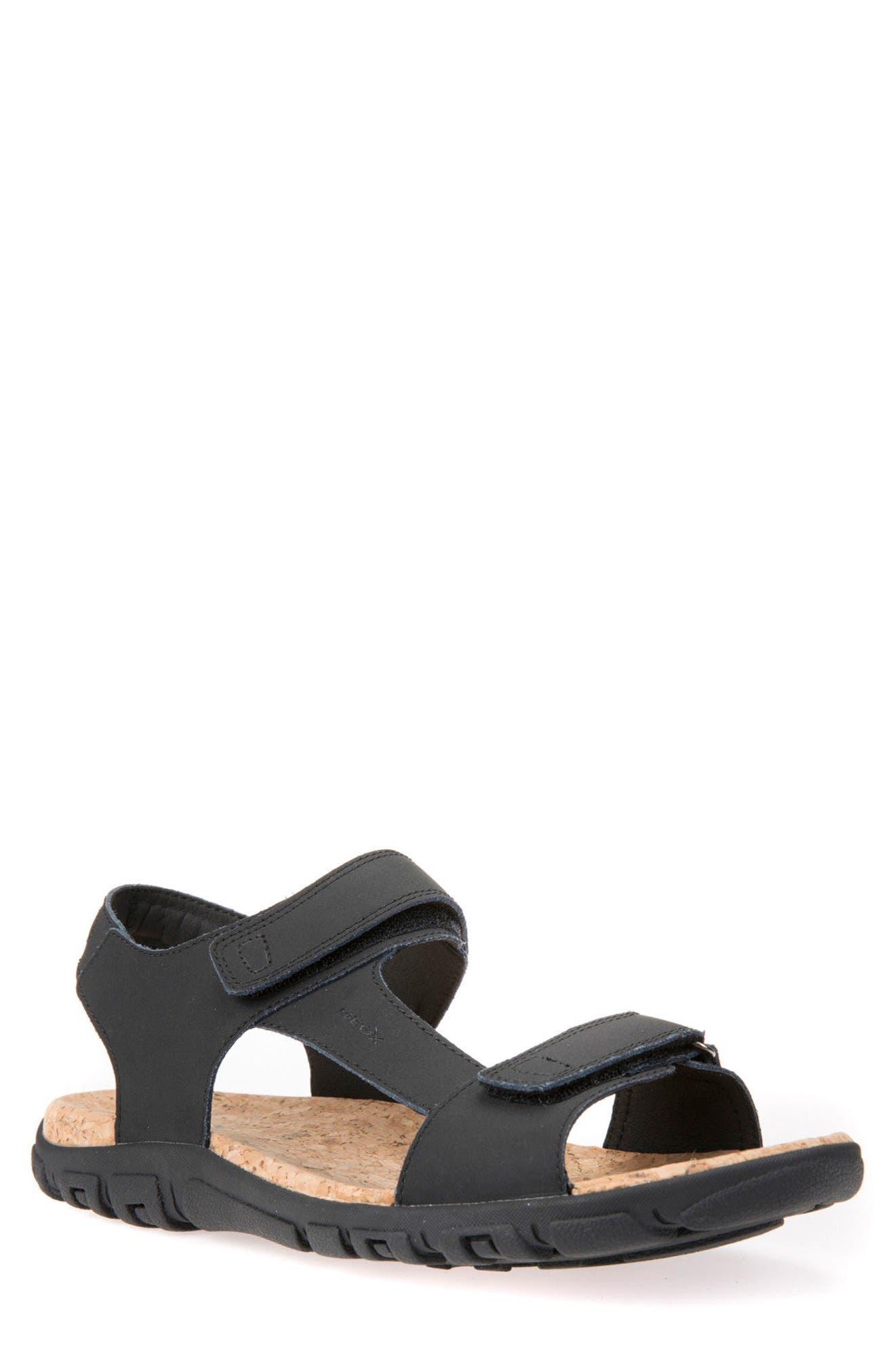 Strada 26 Sport Sandal,                             Main thumbnail 1, color,                             Black Leather