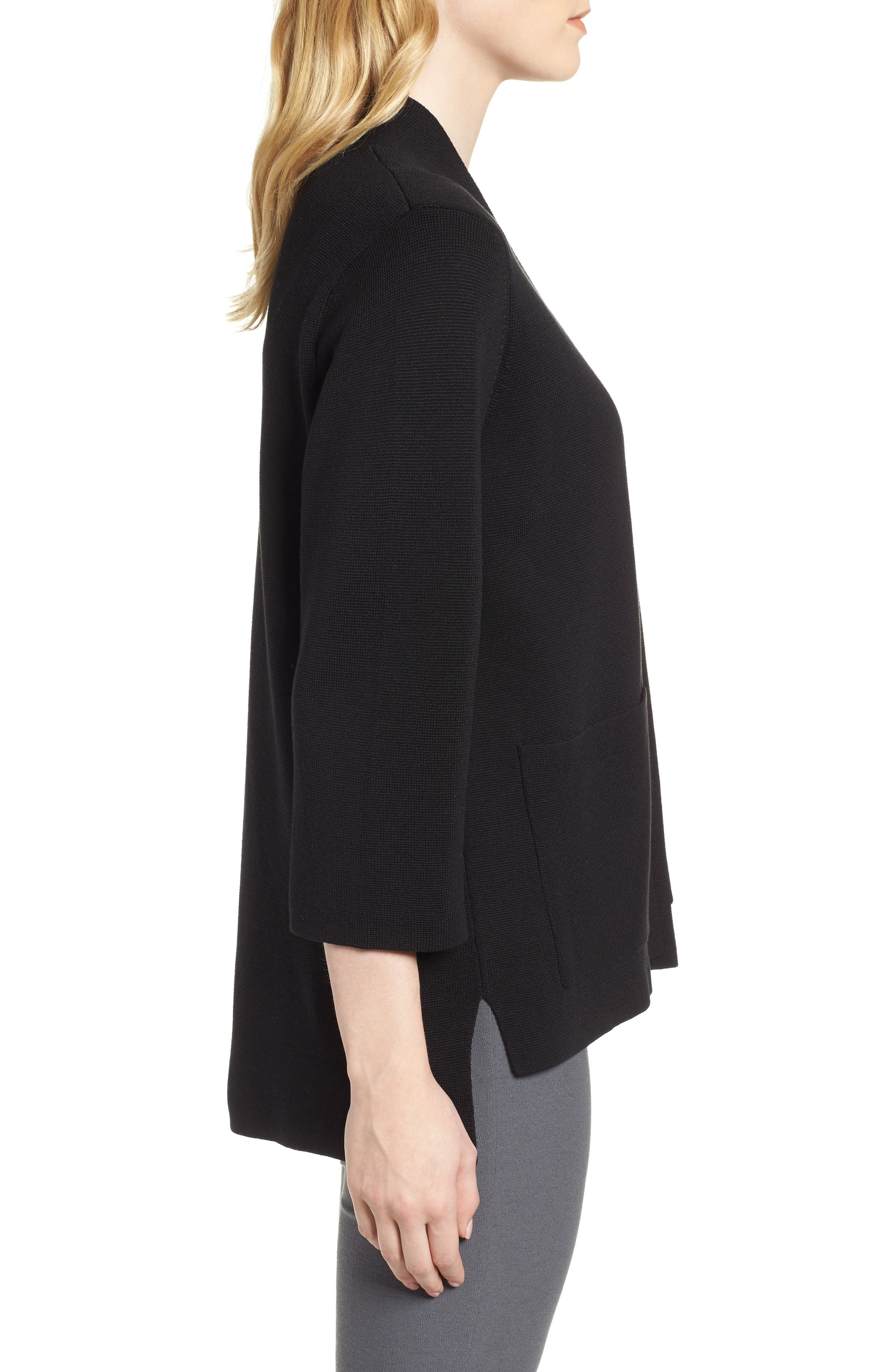 Stand Collar Silk & Organic Cotton Cardigan,                             Alternate thumbnail 3, color,                             Black