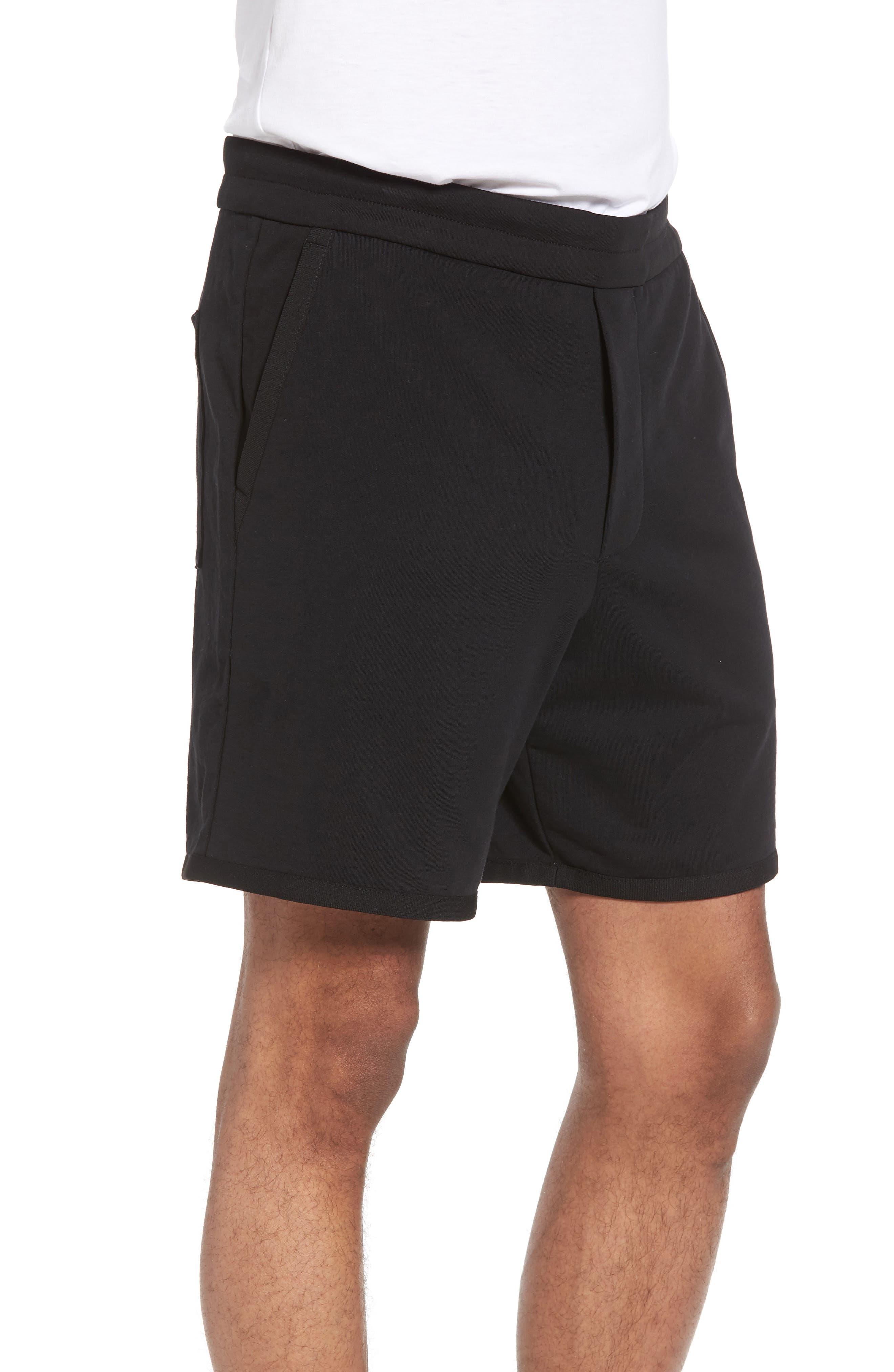 Taped Slim Fit Track Shorts,                             Alternate thumbnail 3, color,                             Black/ Black