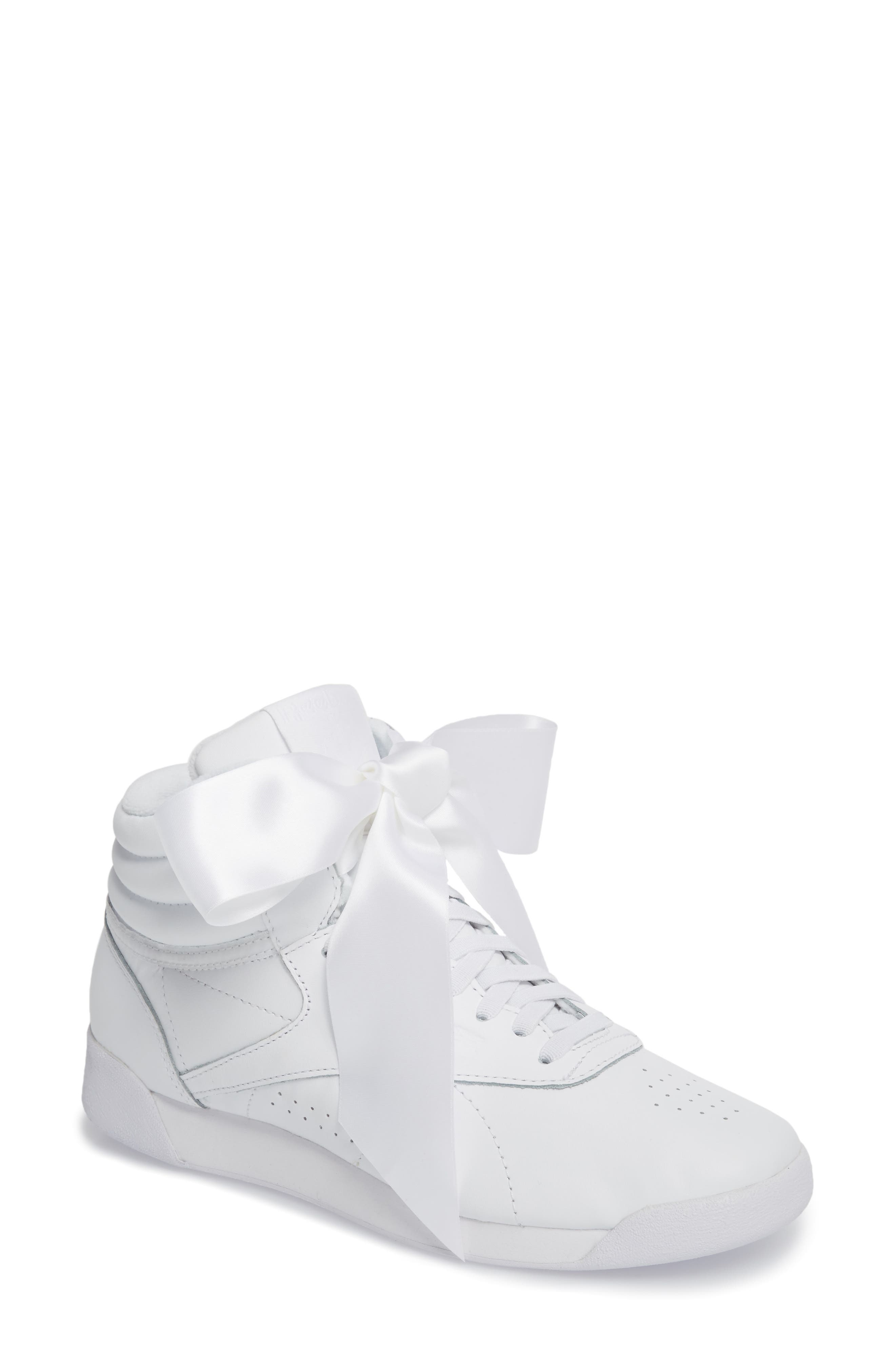 e7ef8466896b Shop Reebok Freestyle Hi Satin Bow Sneaker In White  Skull Grey