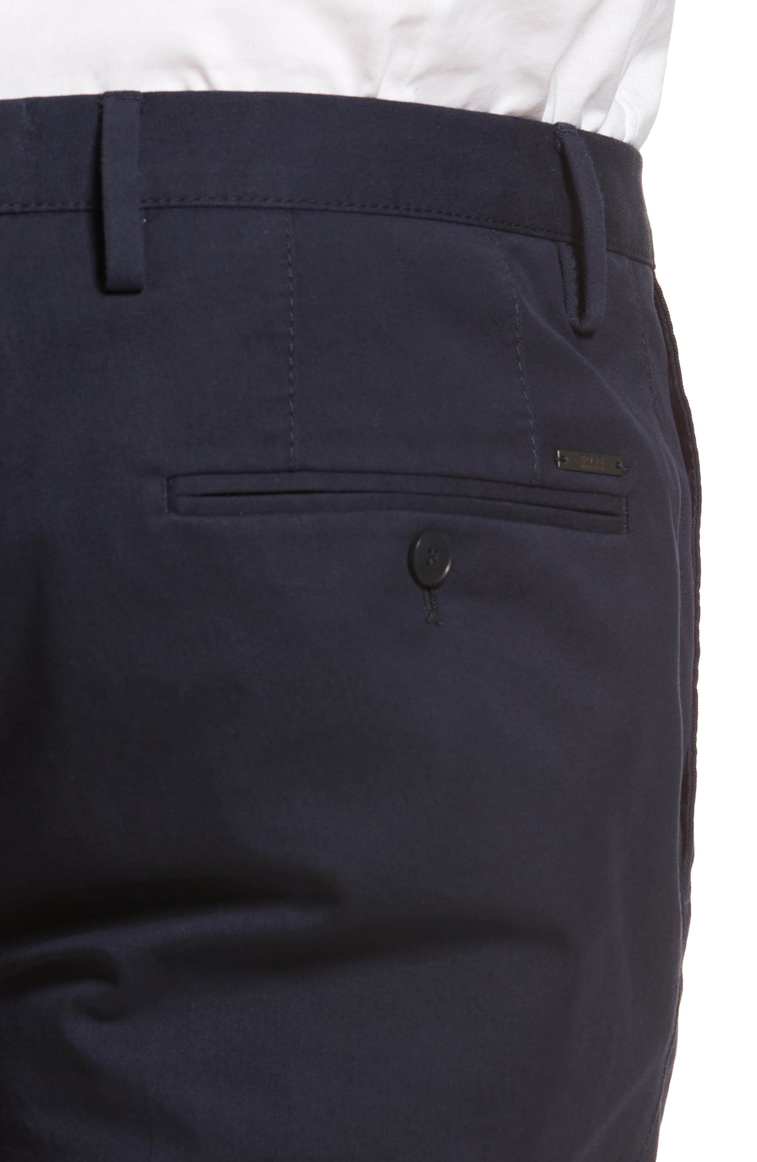 Stanino-W Flat Front Stretch Cotton Trousers,                             Alternate thumbnail 4, color,                             Navy