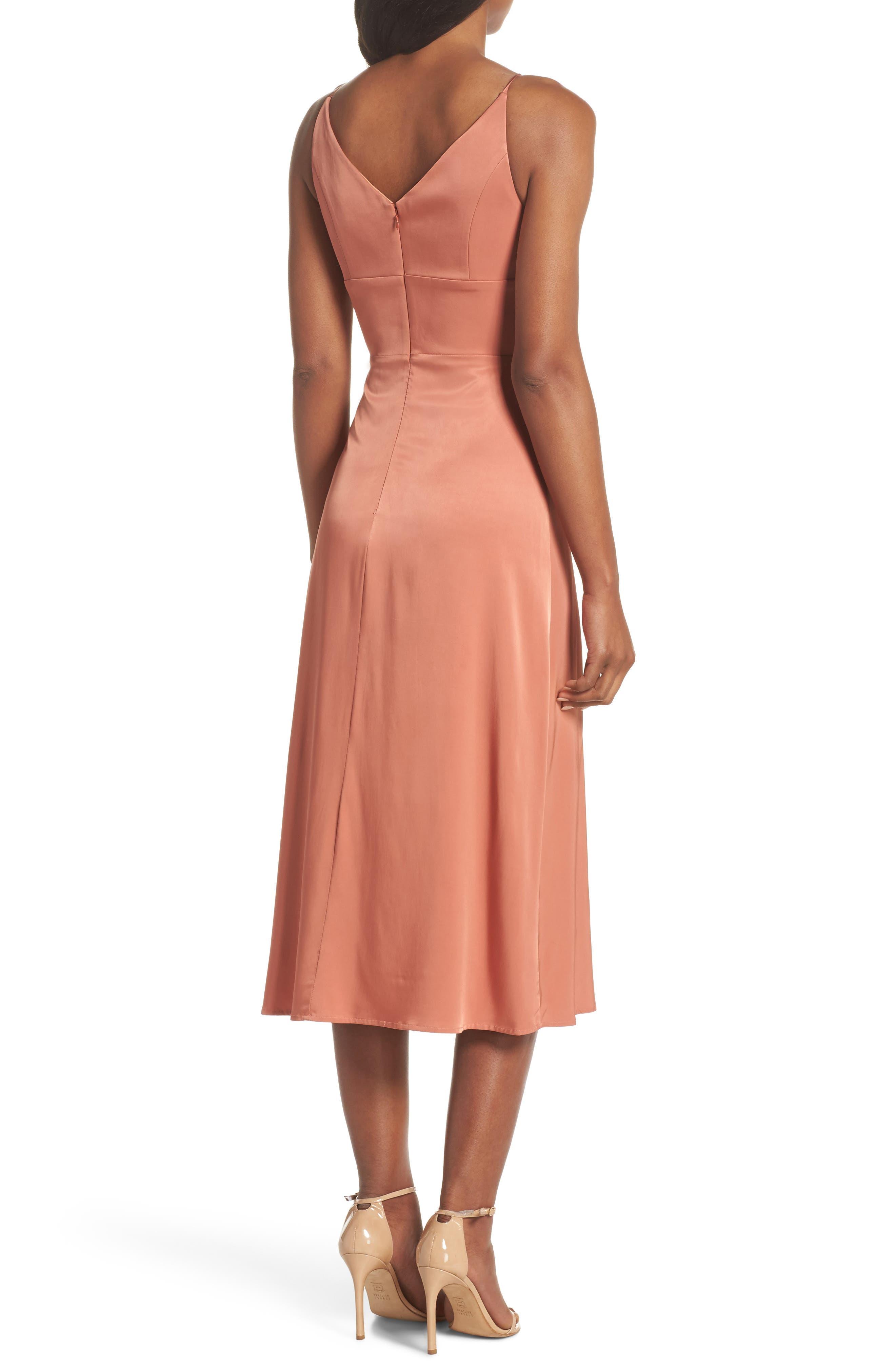 Lea Plunge Neck Midi Dress,                             Alternate thumbnail 2, color,                             Terracotta