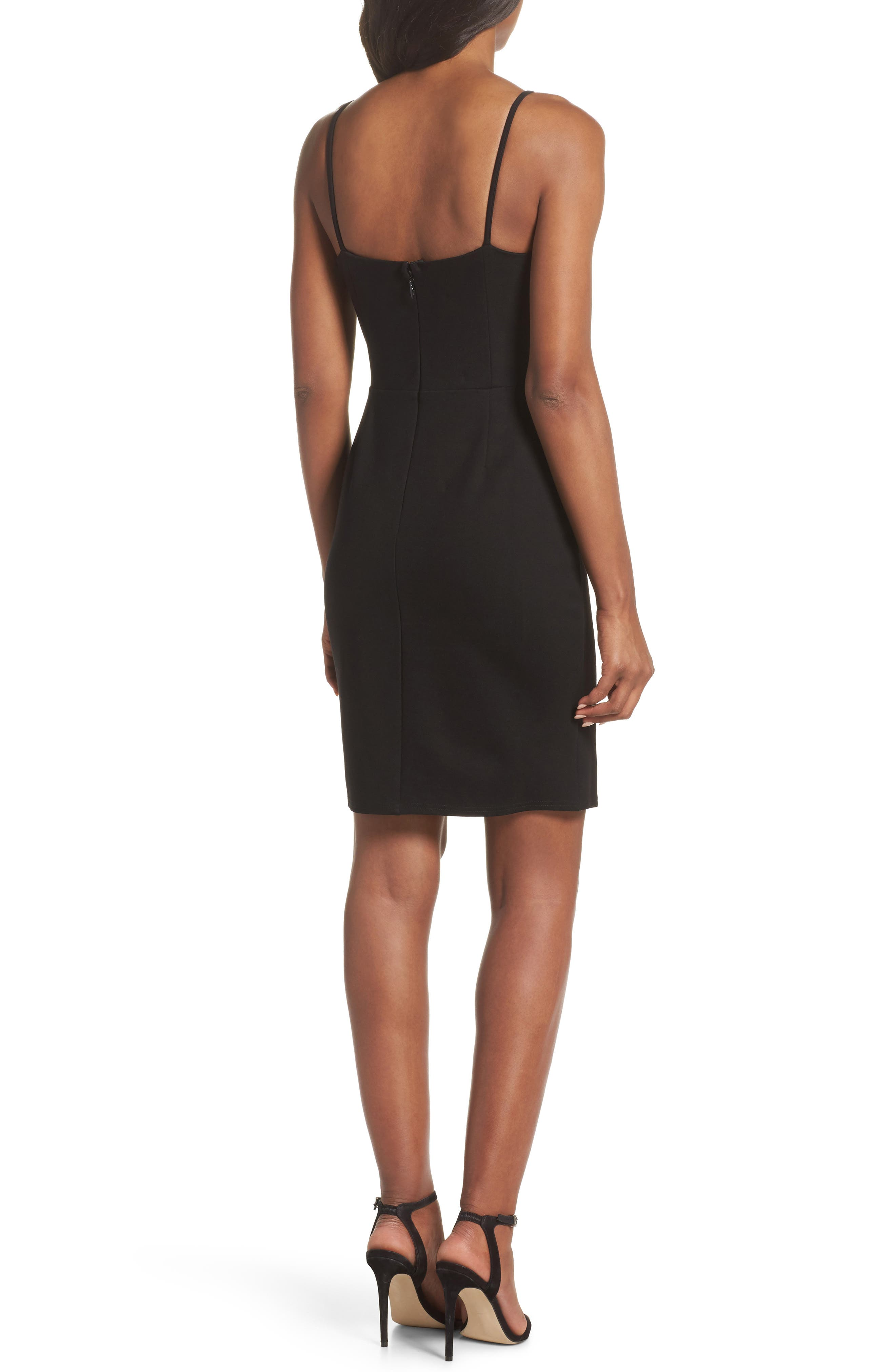 Raynelle Tie Front Sheath Dress,                             Alternate thumbnail 2, color,                             Black