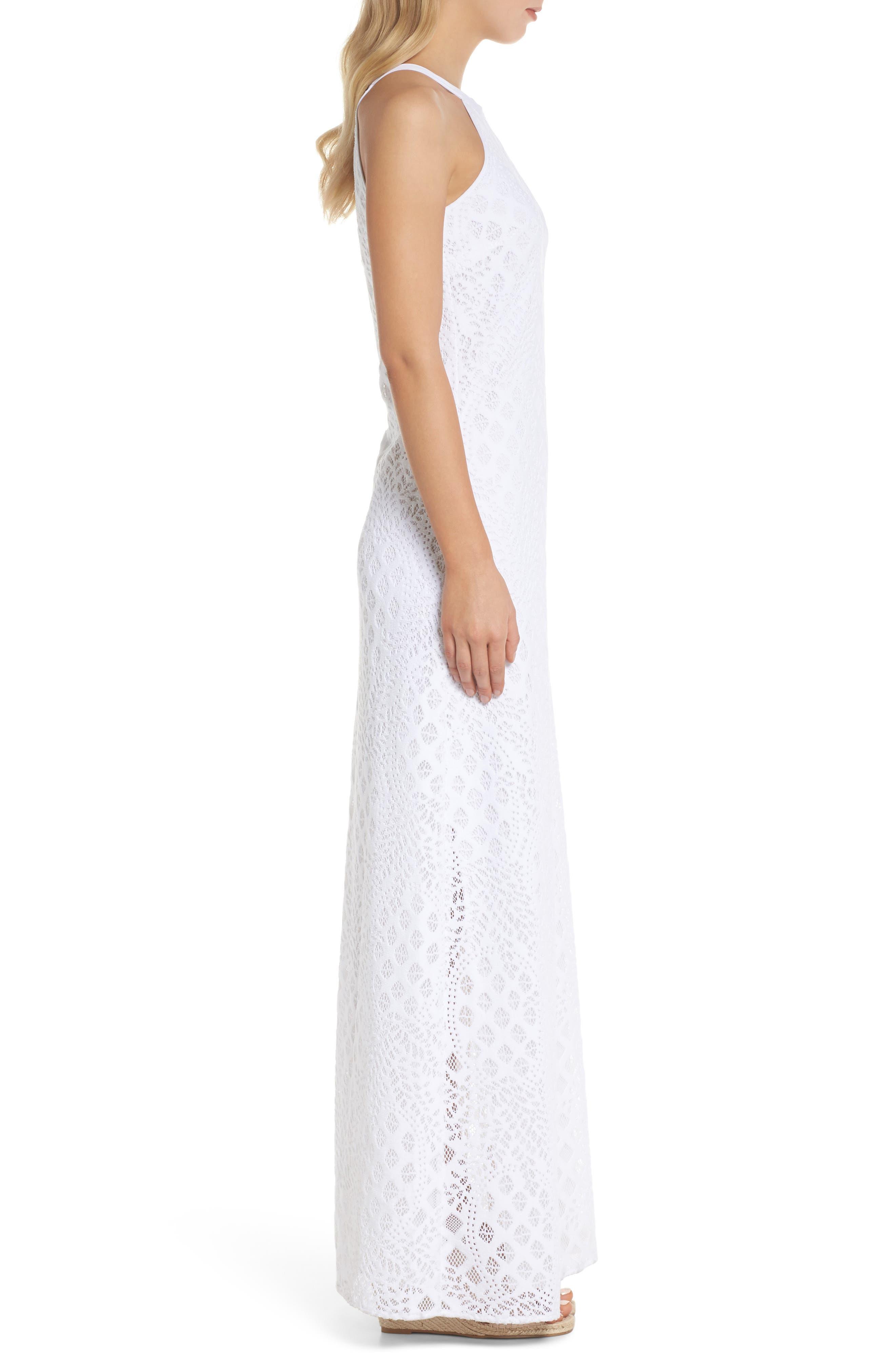 Pearl Maxi Dress,                             Alternate thumbnail 3, color,                             Resort White Pineapple Lace