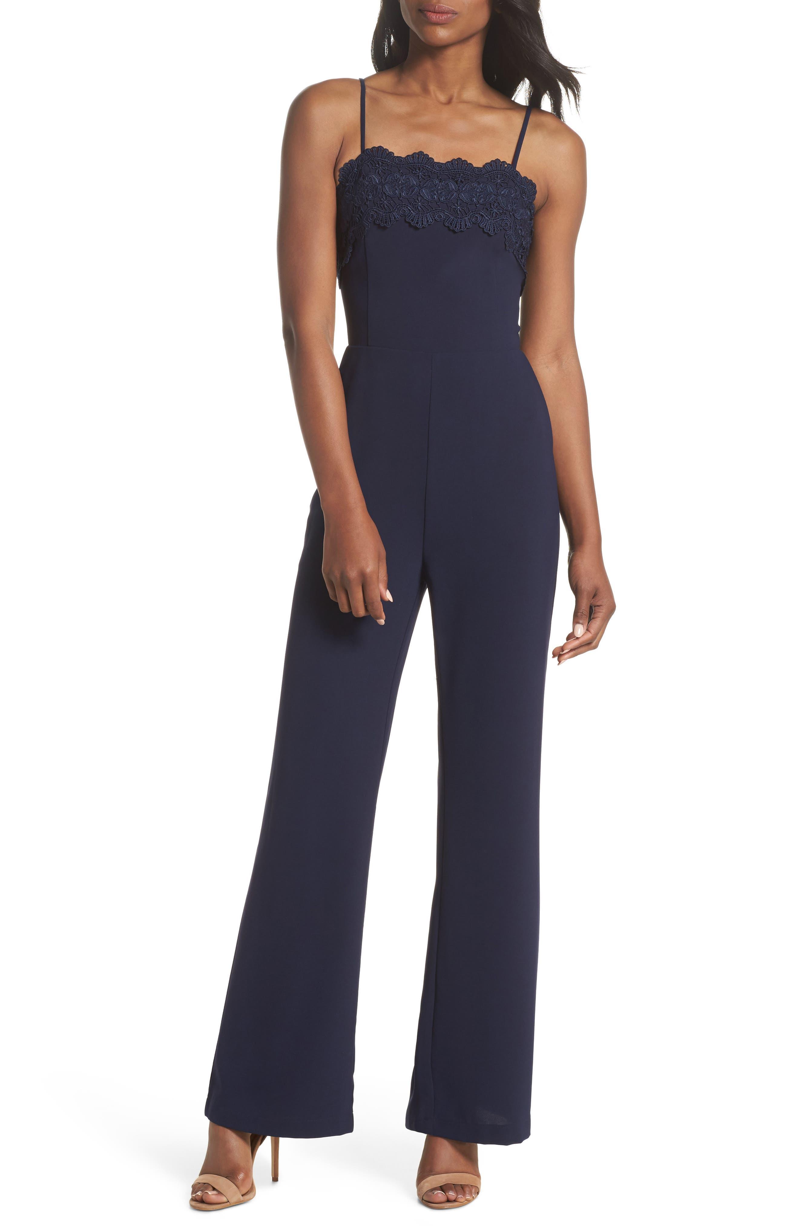 Jennifer Lace Trim Jumpsuit,                         Main,                         color, Navy