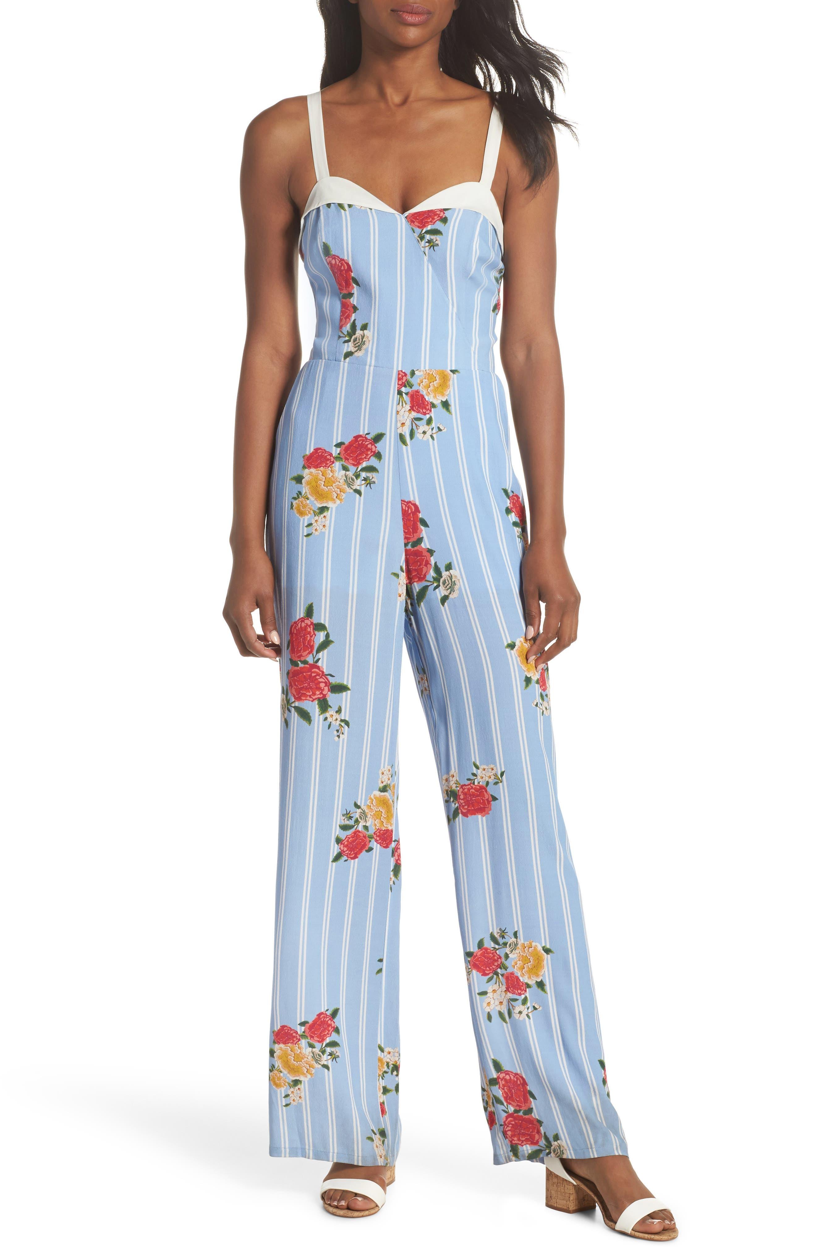 Iris Floral Print Jumpsuit,                         Main,                         color, Azure Blue Multi