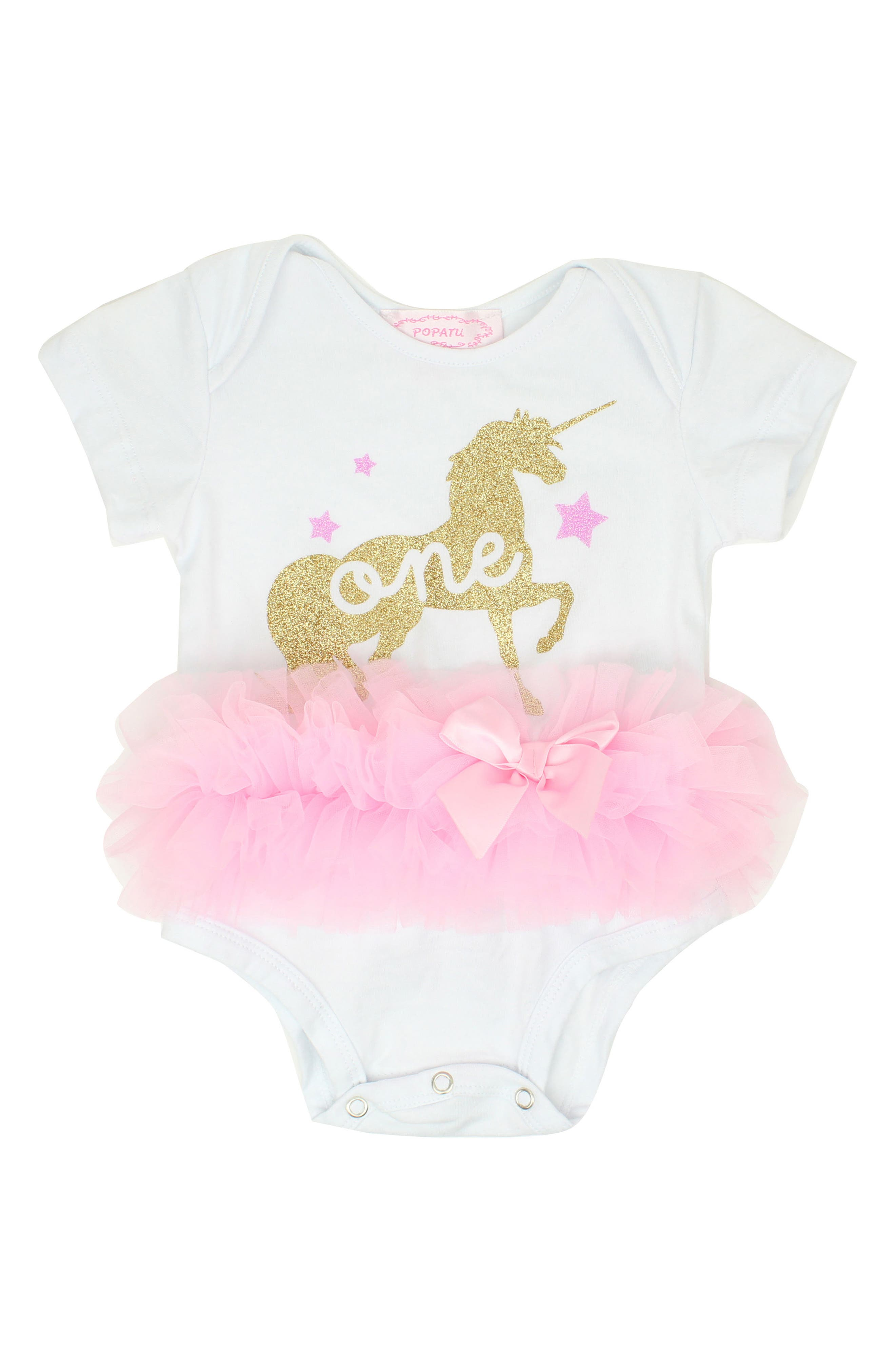 One Unicorn Tutu Bodysuit,                             Main thumbnail 1, color,                             White
