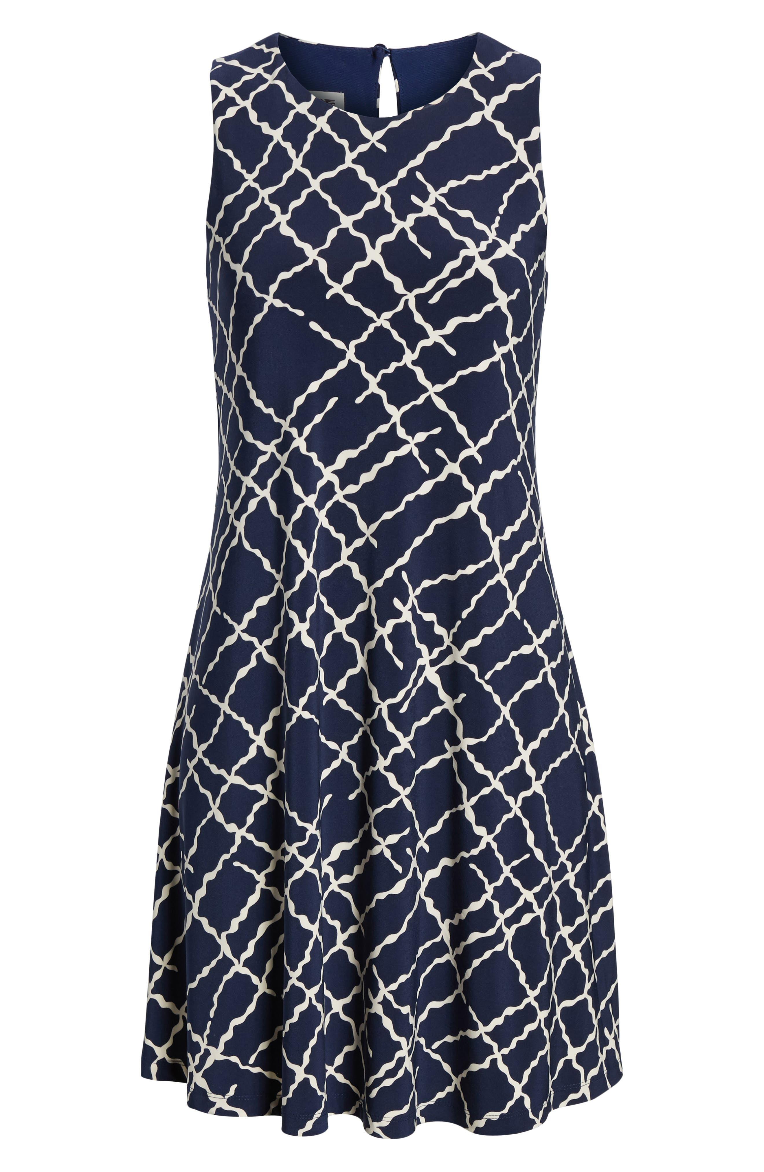 Print Swing Dress,                             Alternate thumbnail 7, color,                             Breton Blue/ Parchment