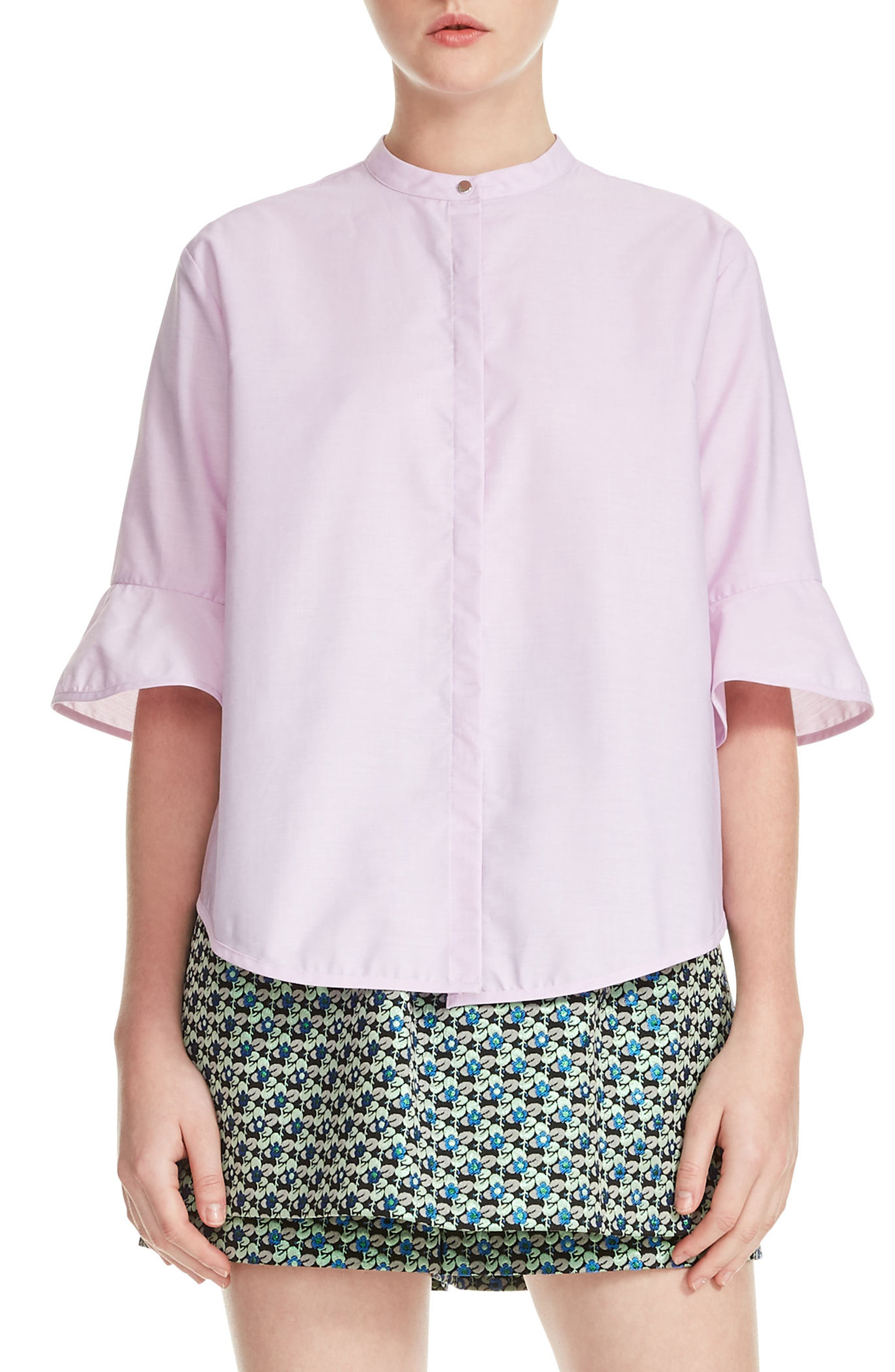 Charly Cotton Ruffle Sleeve Top,                         Main,                         color, Rose