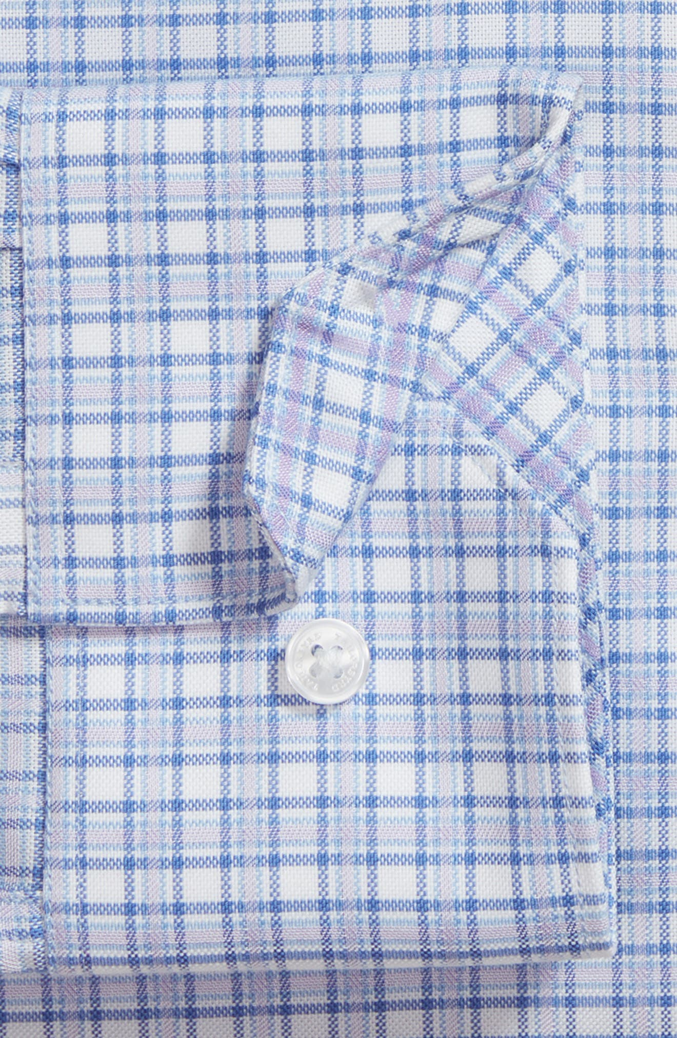 Nas Trim Fit Plaid Dress Shirt,                             Alternate thumbnail 5, color,                             Royal