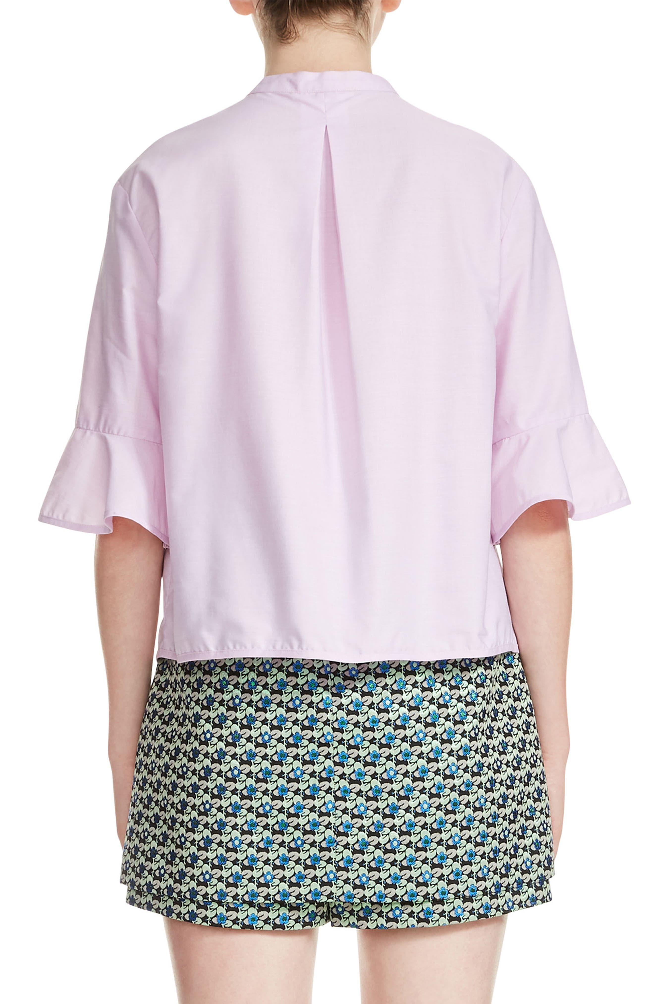 Charly Cotton Ruffle Sleeve Top,                             Alternate thumbnail 2, color,                             Rose