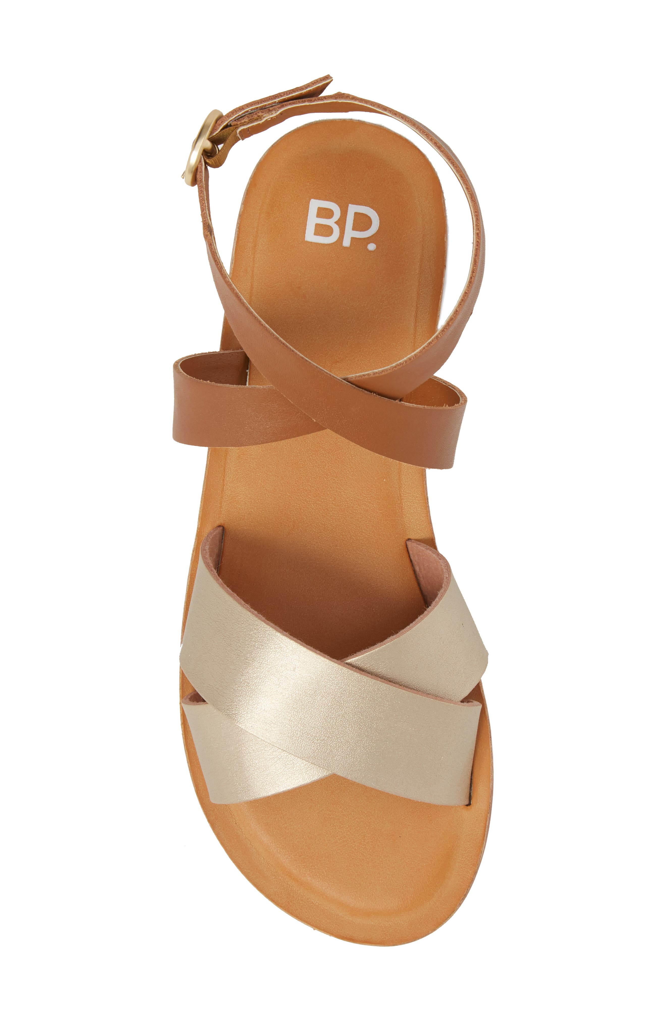 Reed Strappy Flat Sandal,                             Alternate thumbnail 5, color,                             Gold/Cognac