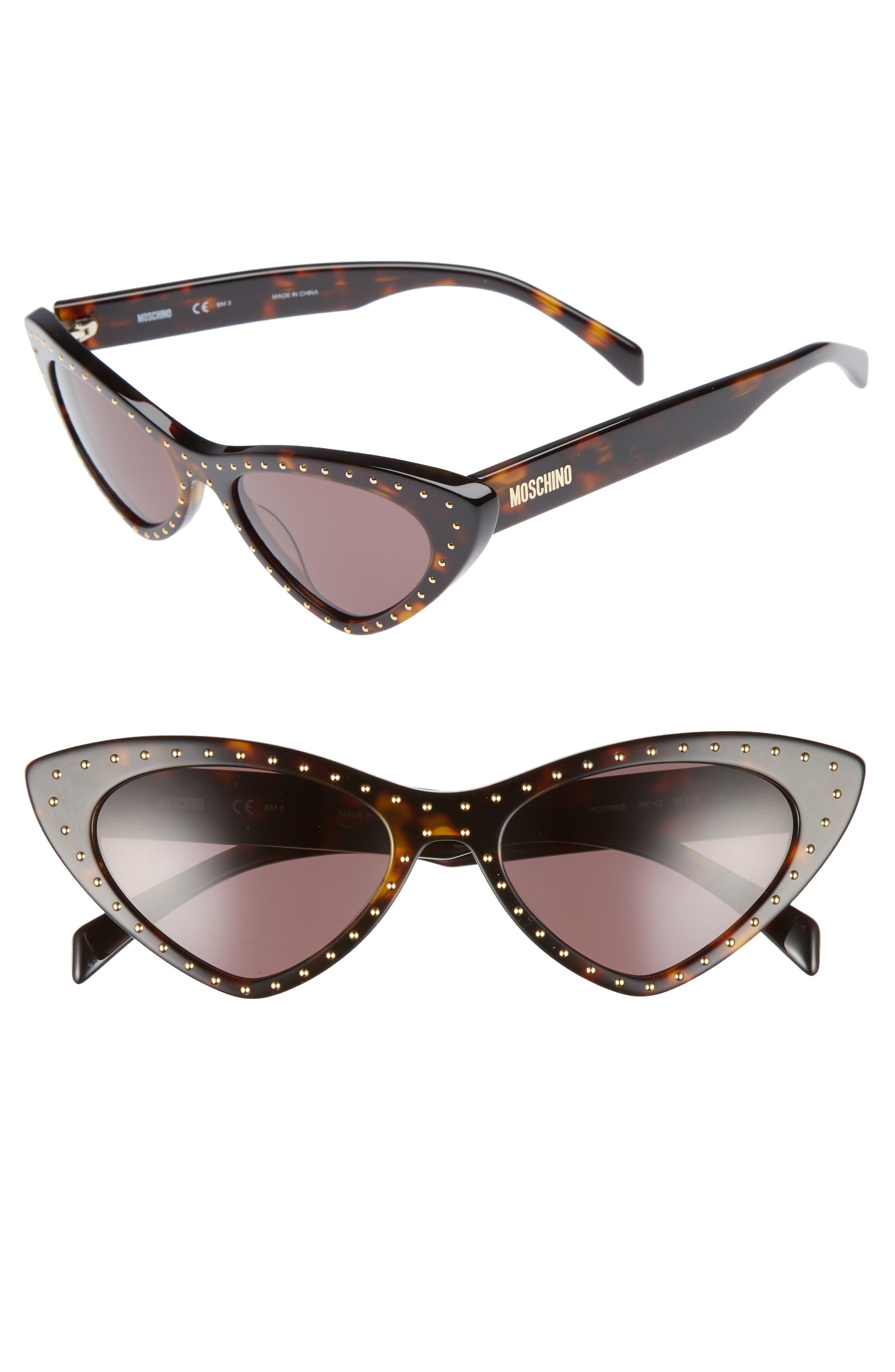 52mm Cat's Eye Sunglasses,                             Main thumbnail 1, color,                             Dark Havana