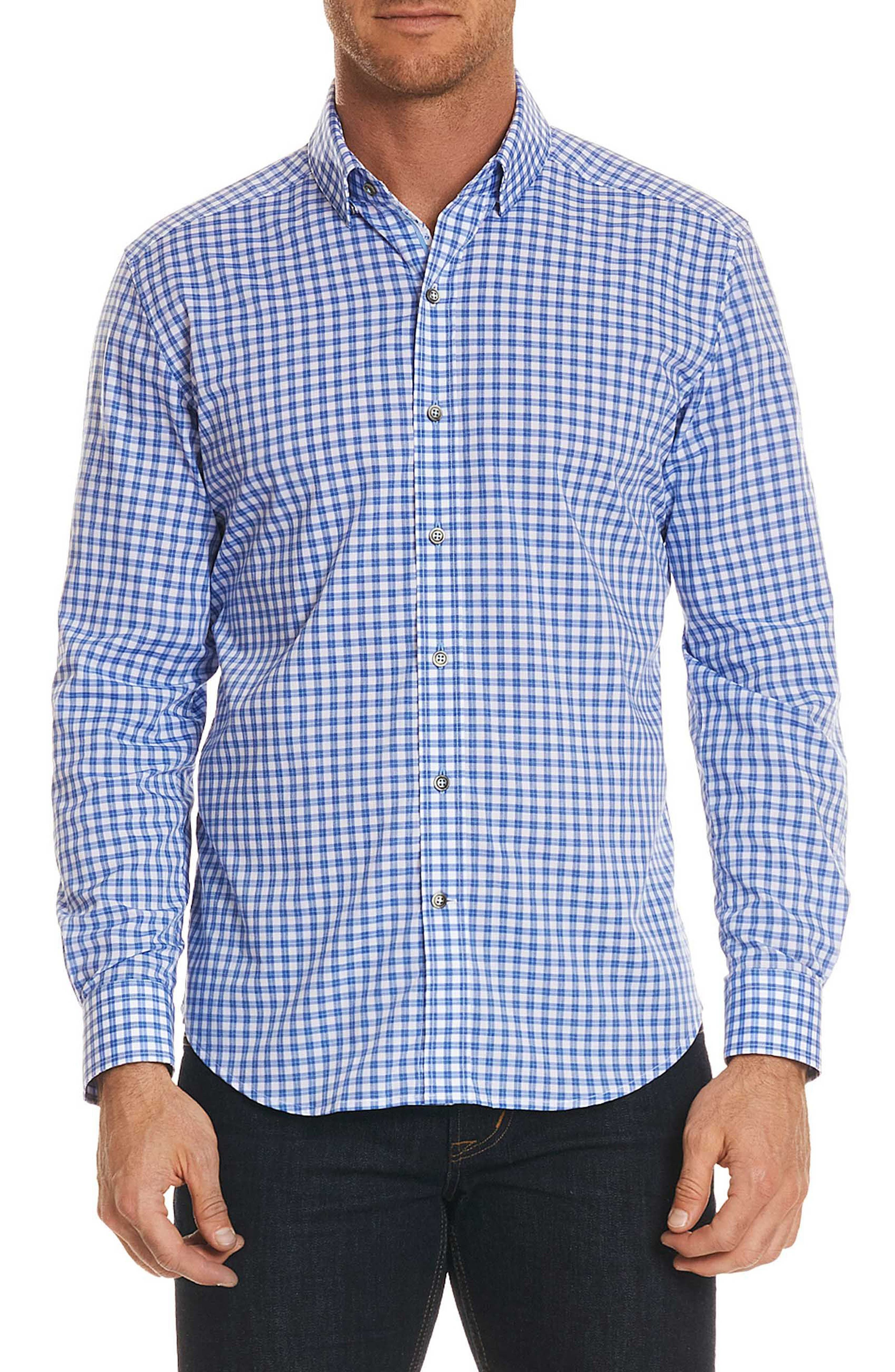 Rye Tailored Fit Check Sport Shirt,                         Main,                         color, Blue
