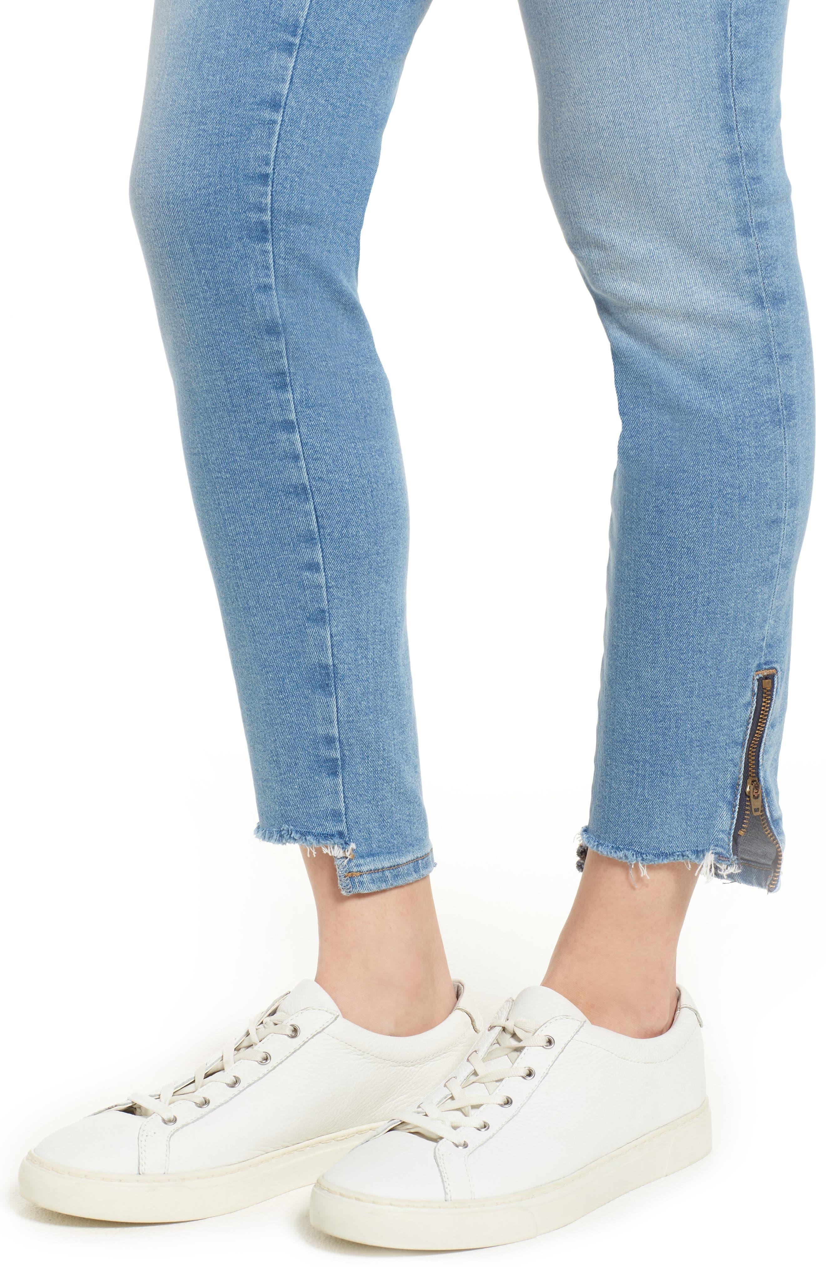 Adriana Ankle Zip Step Hem Jeans,                             Alternate thumbnail 4, color,                             Mid Fringe Nolita