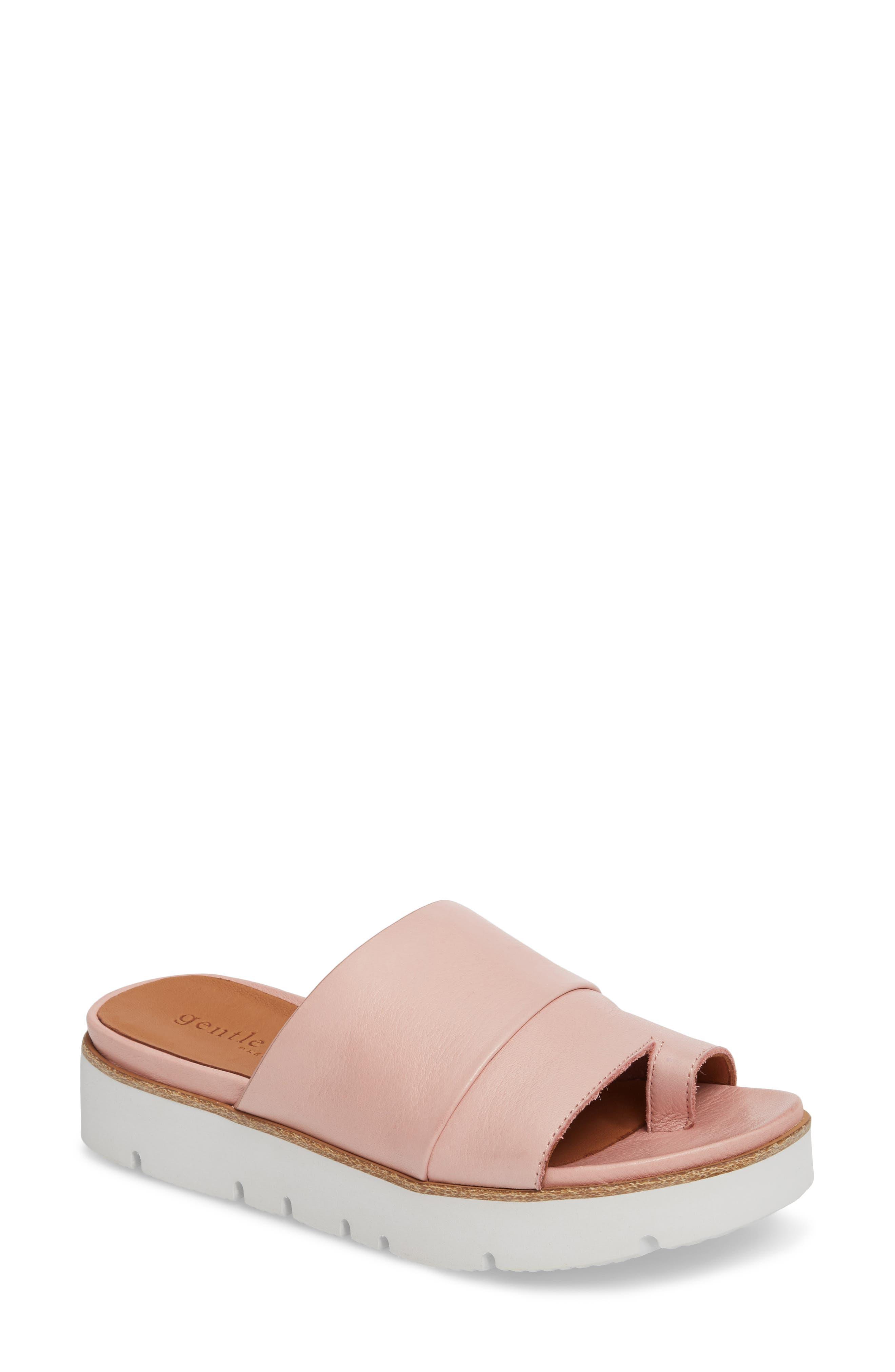 Newest Online With Credit Card For Sale Kenneth Cole Gentle Souls Women's Lavern Leather Platform Slide Sandals FkvYikaWC