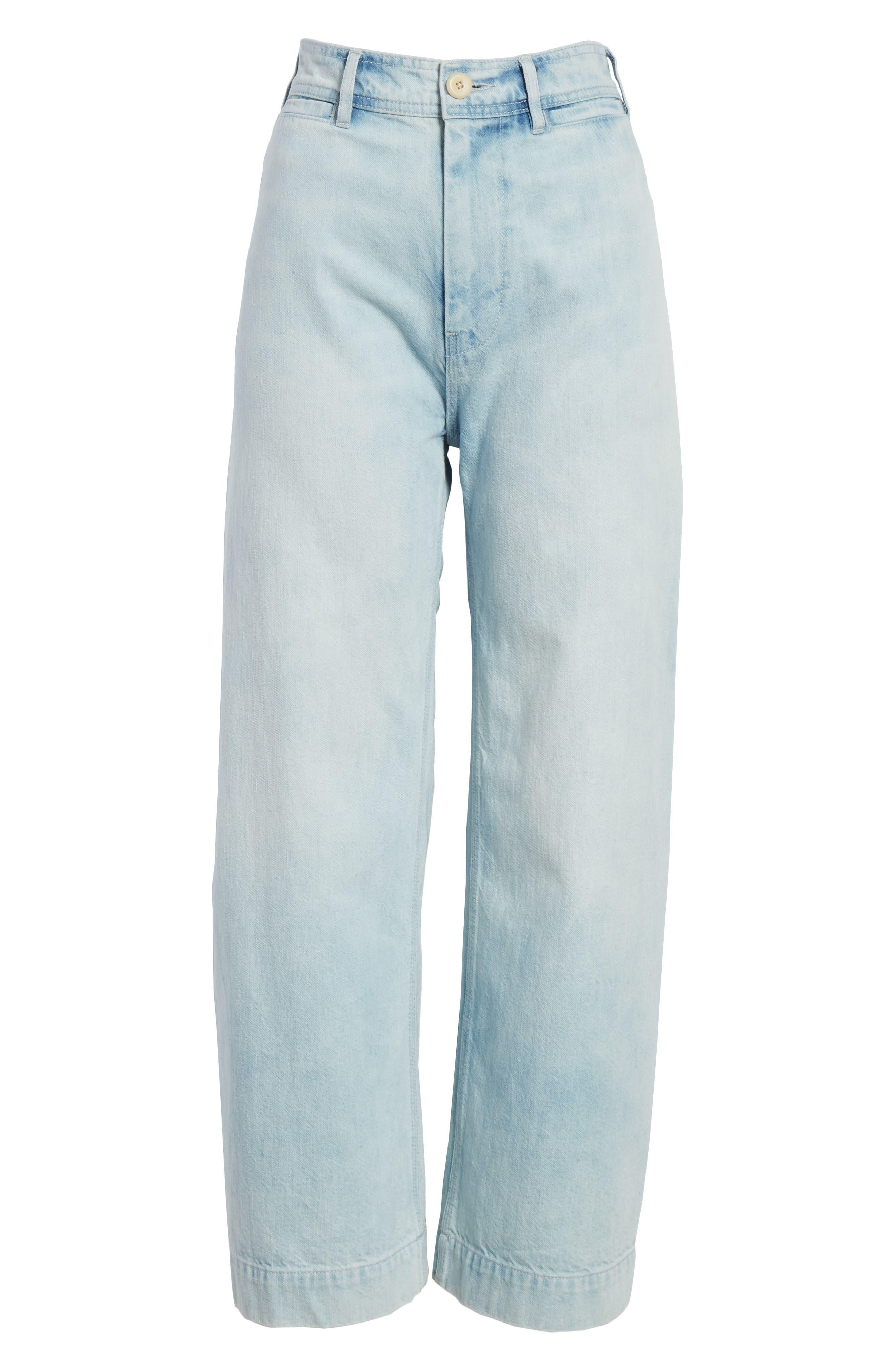 Crop Wide Leg Jeans,                             Alternate thumbnail 6, color,                             Nuage Wash