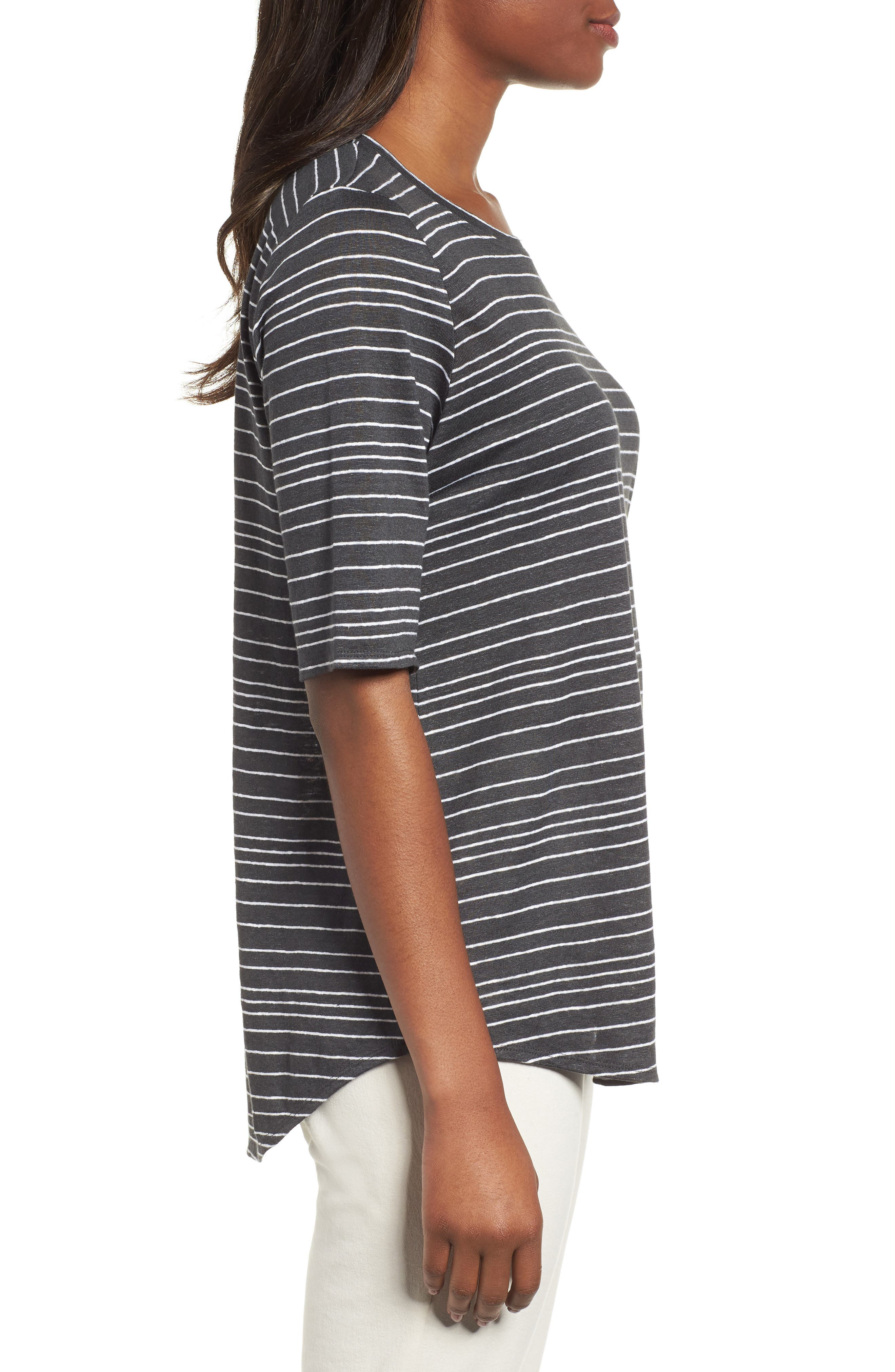 Stripe Organic Linen Top,                             Alternate thumbnail 3, color,                             Graphite