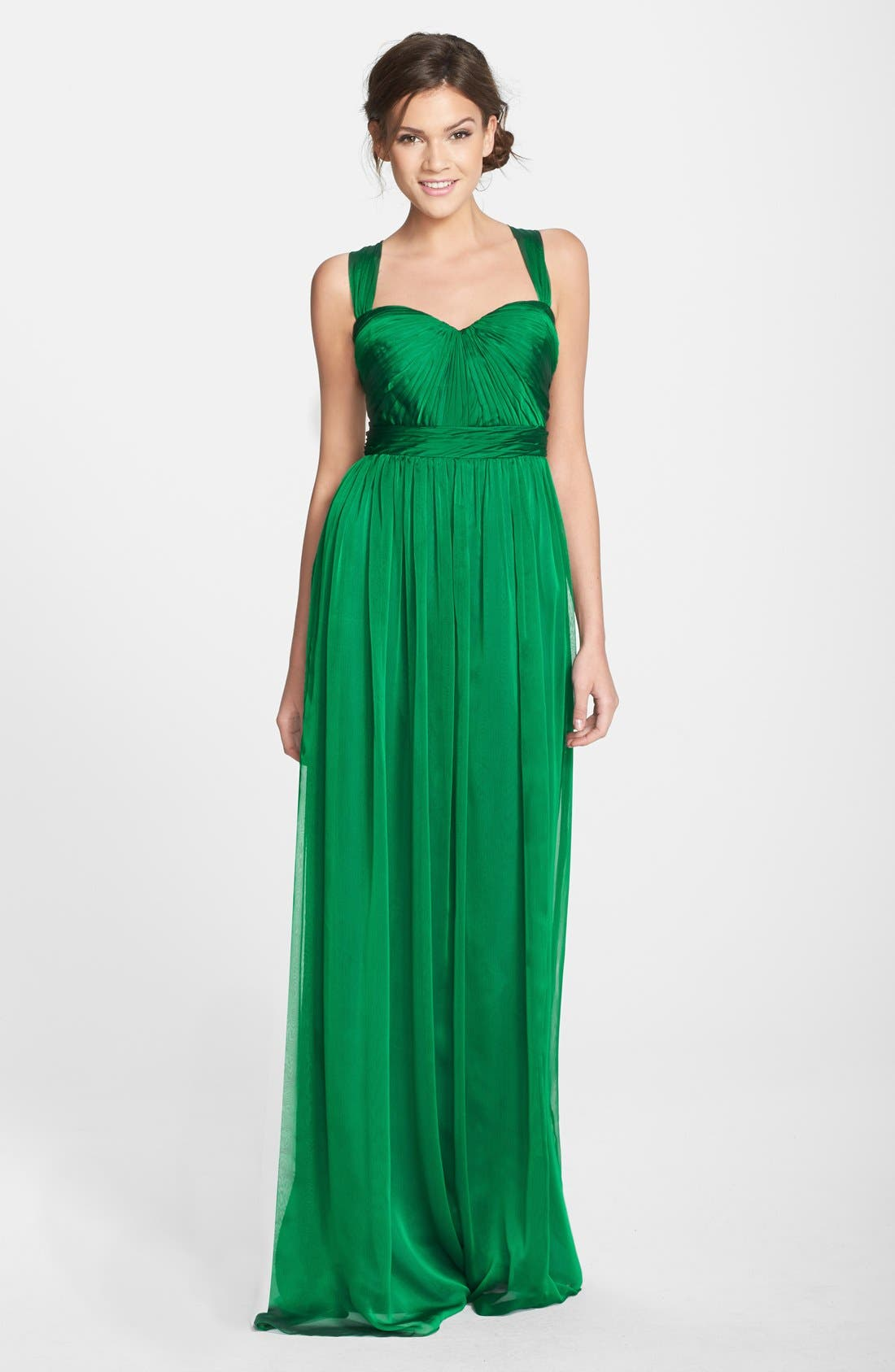 Alternate Image 1 Selected - Monique Lhuillier Bridesmaids Shirred Chiffon Gown