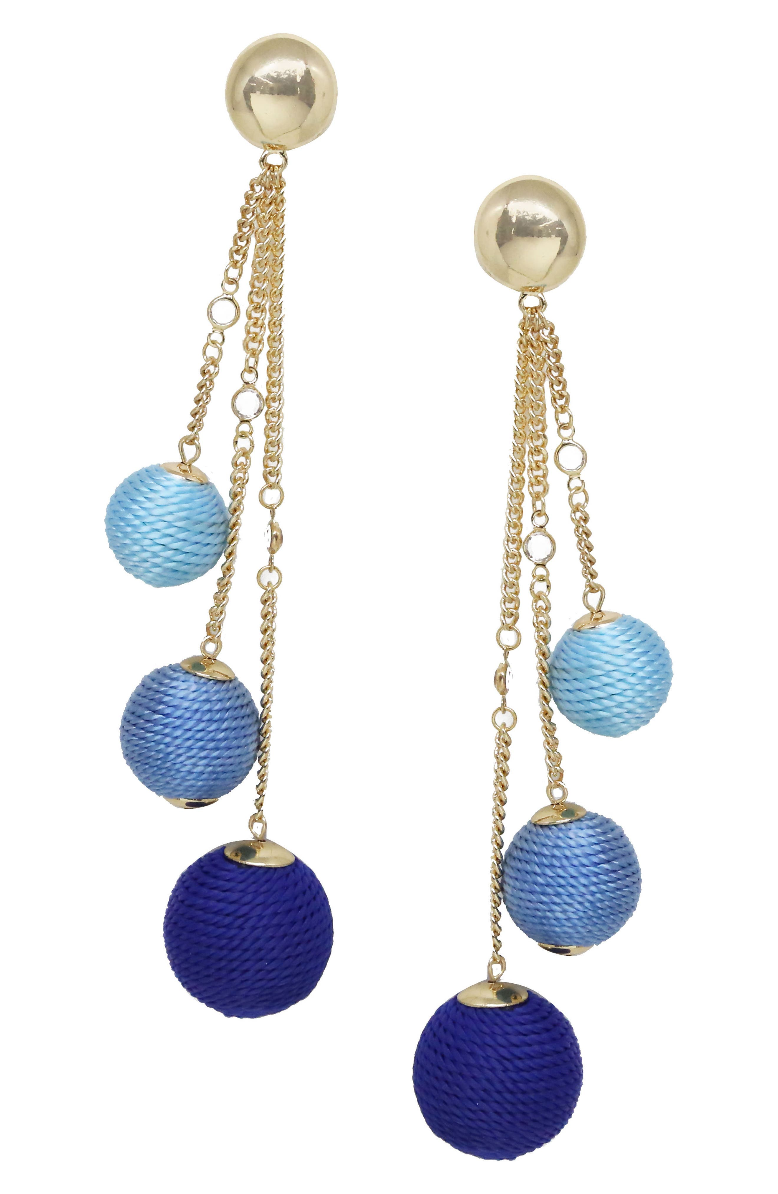 Wrapped Ball & Chain Statement Earrings,                         Main,                         color, Blue