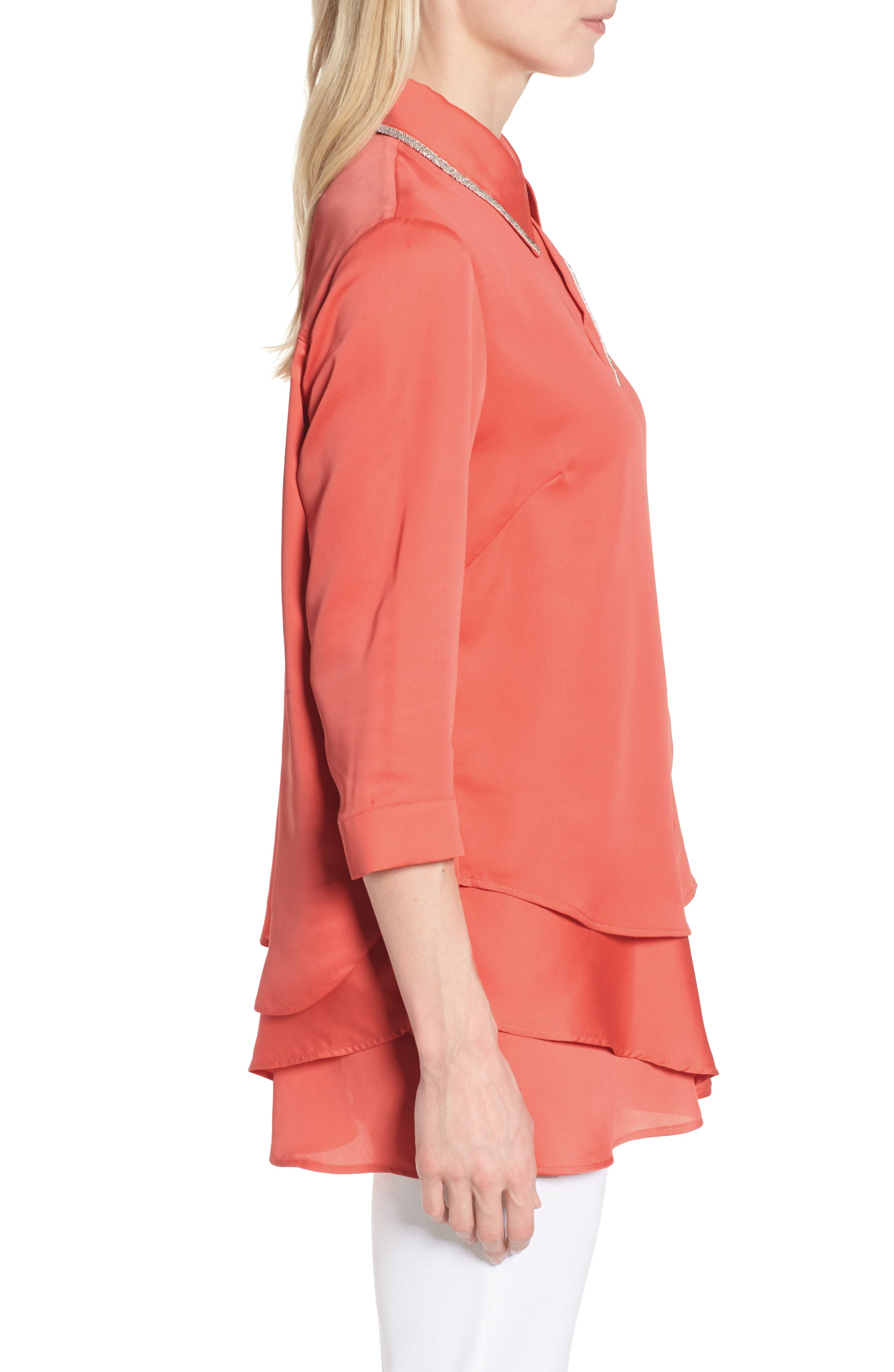 Tiered Tunic Shirt,                             Alternate thumbnail 3, color,                             Daylily
