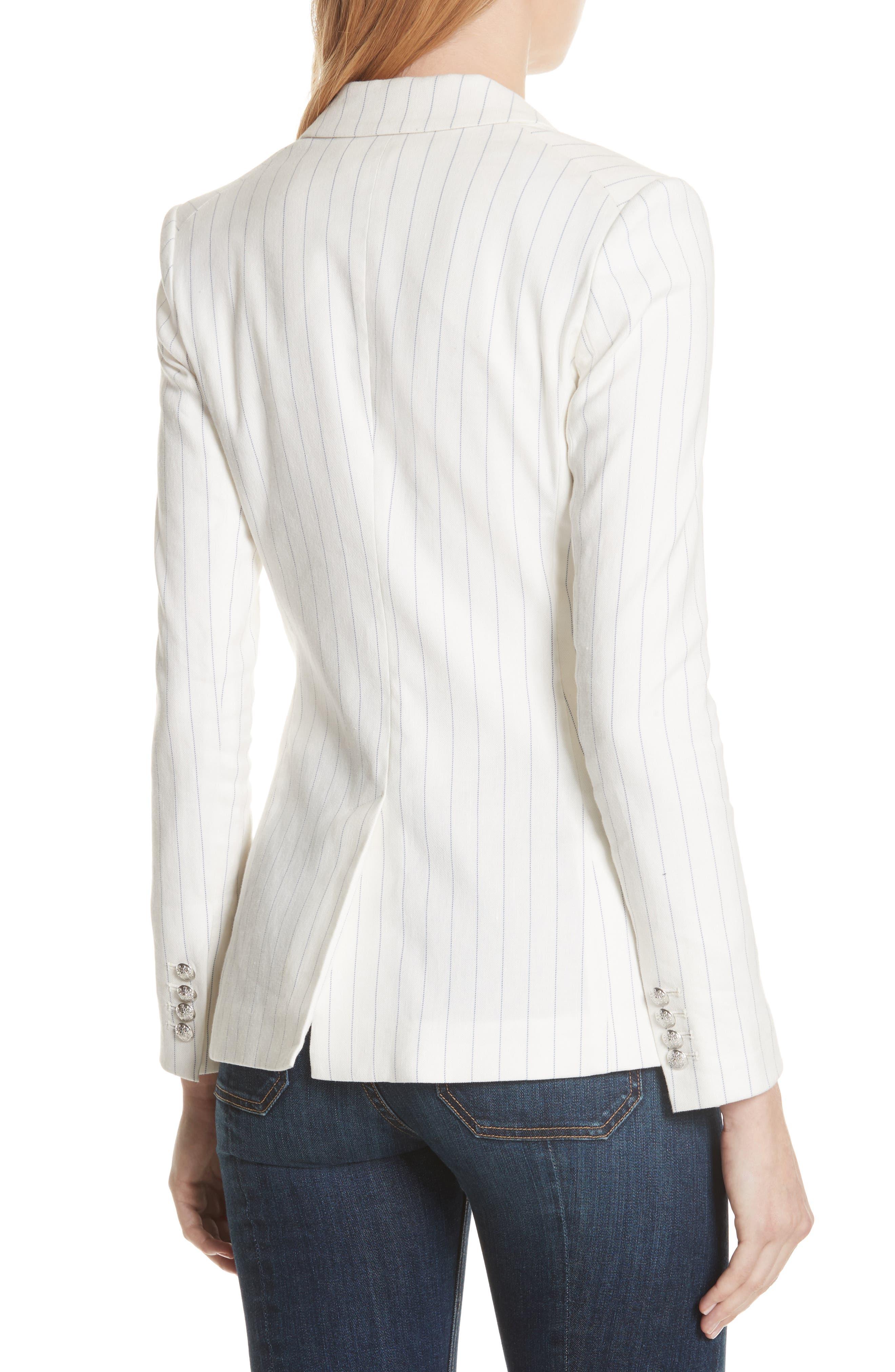 Apollo Pinstripe Jacket,                             Alternate thumbnail 2, color,                             Off White/ Blue Stripe