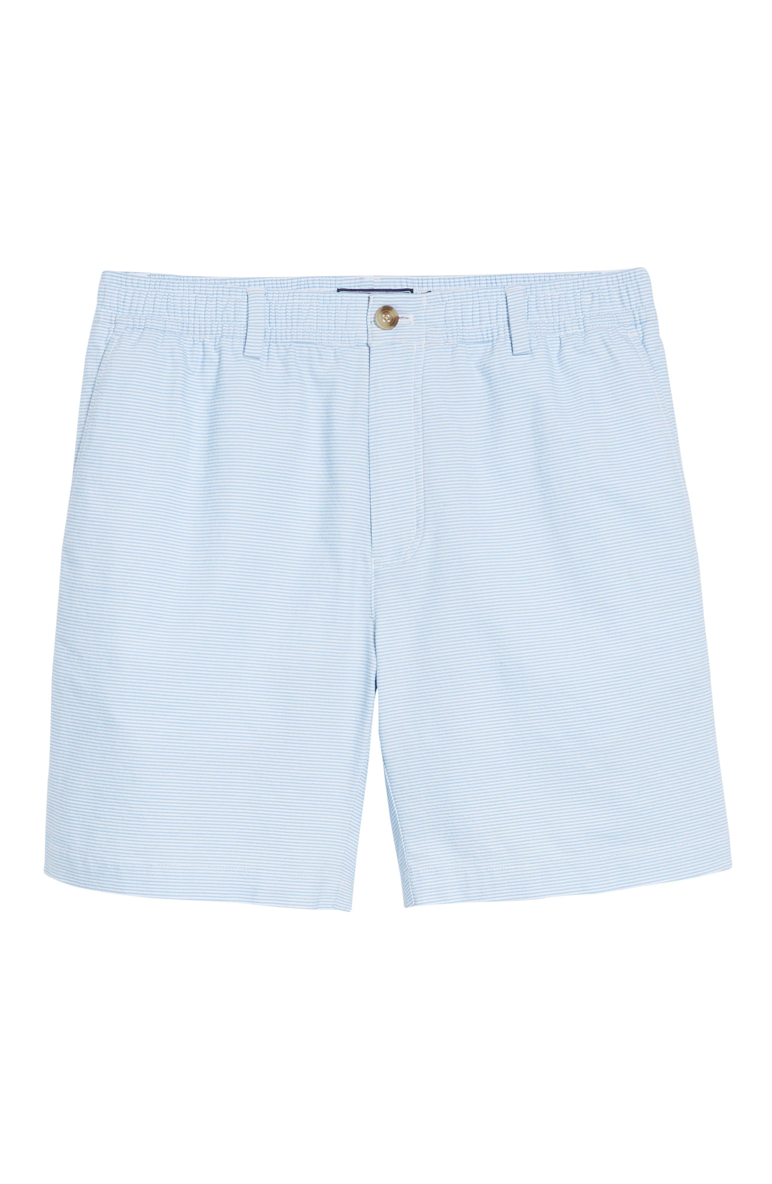 Jetty Stripe Stretch Cotton Shorts,                             Alternate thumbnail 6, color,                             Ocean Breeze