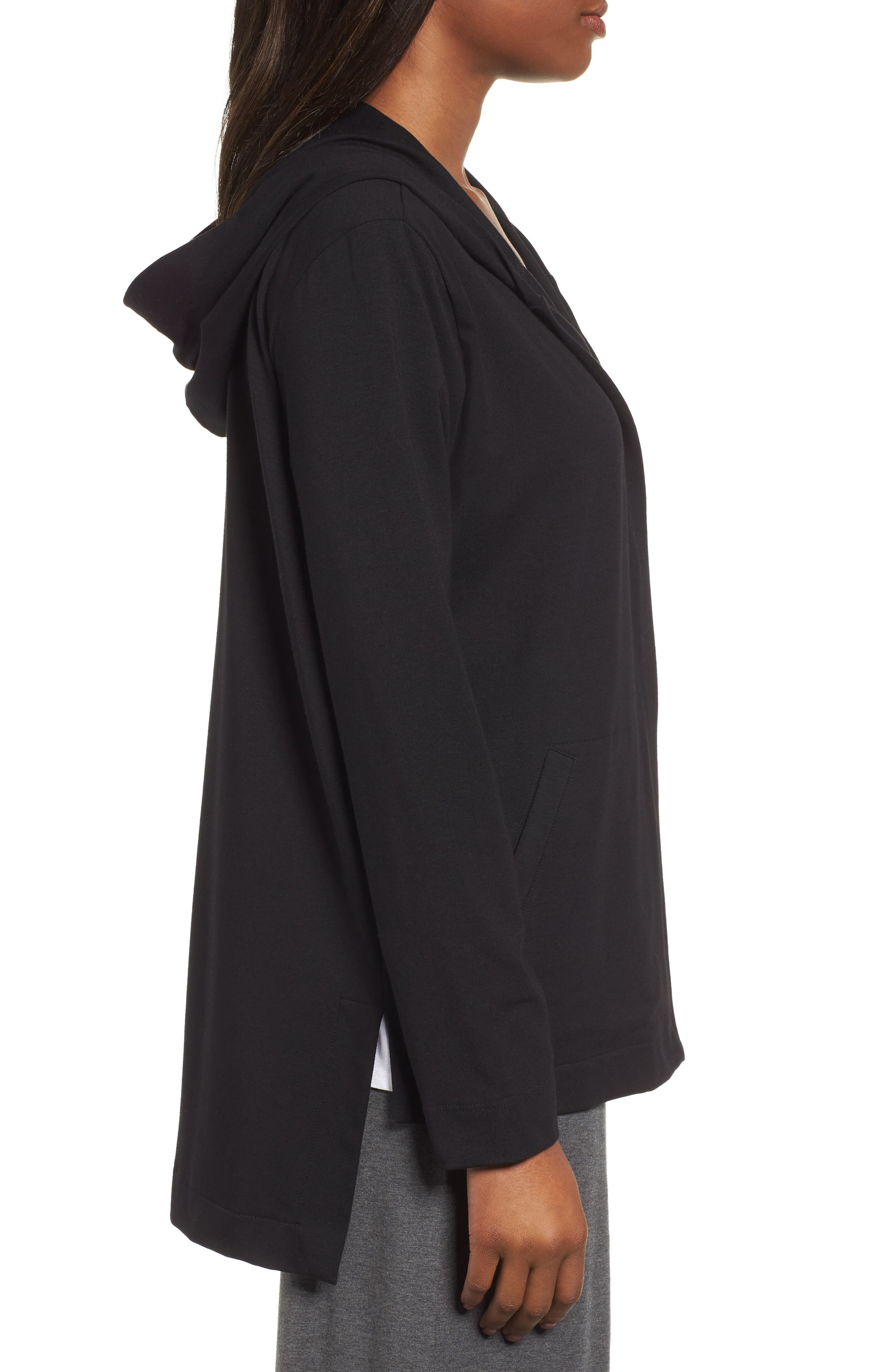 Stretch Organic Cotton Hooded Cardigan,                             Alternate thumbnail 3, color,                             Black