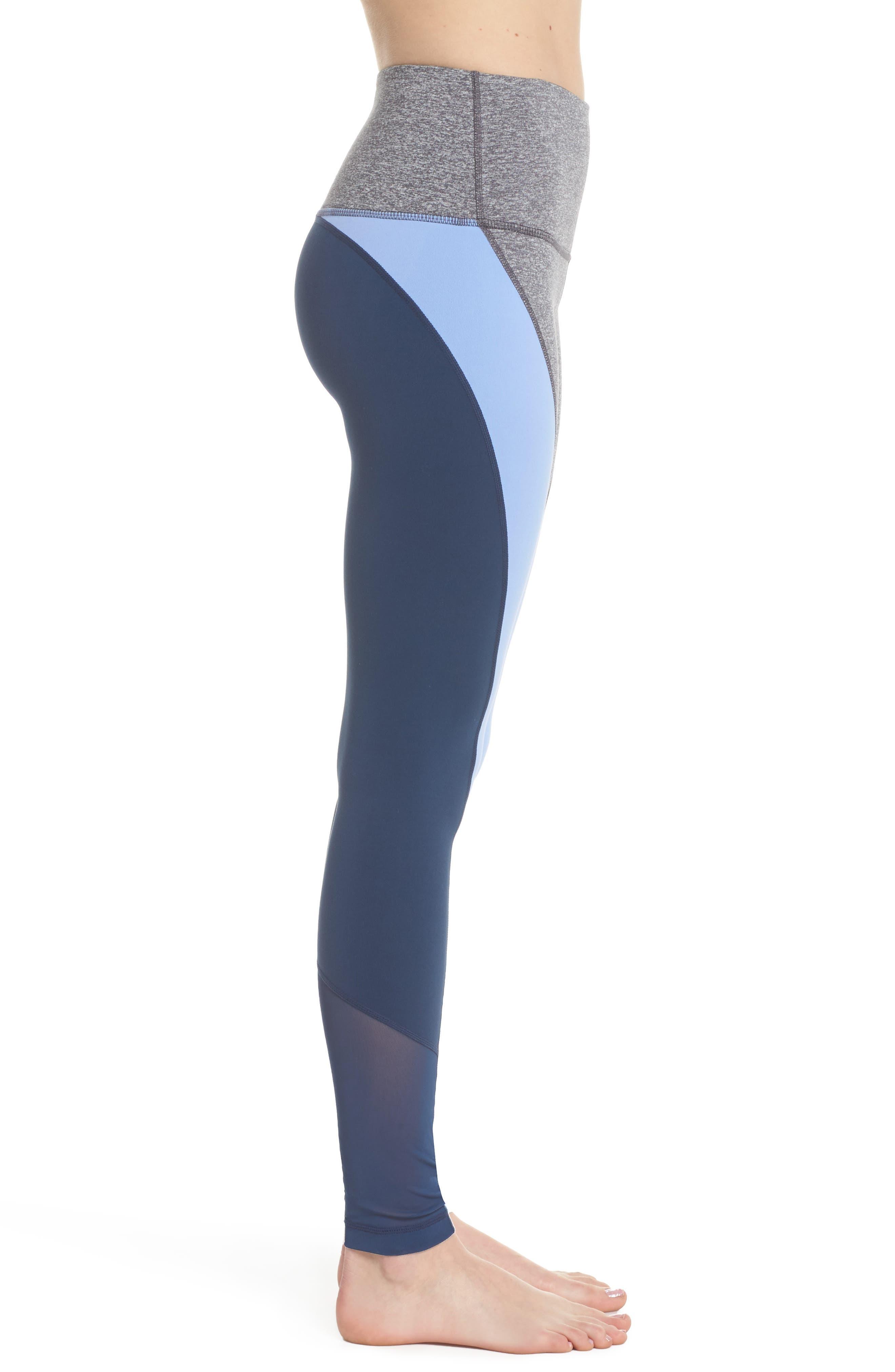 Get in Line High Waist Leggings,                             Alternate thumbnail 3, color,                             Grey Graphite Melange