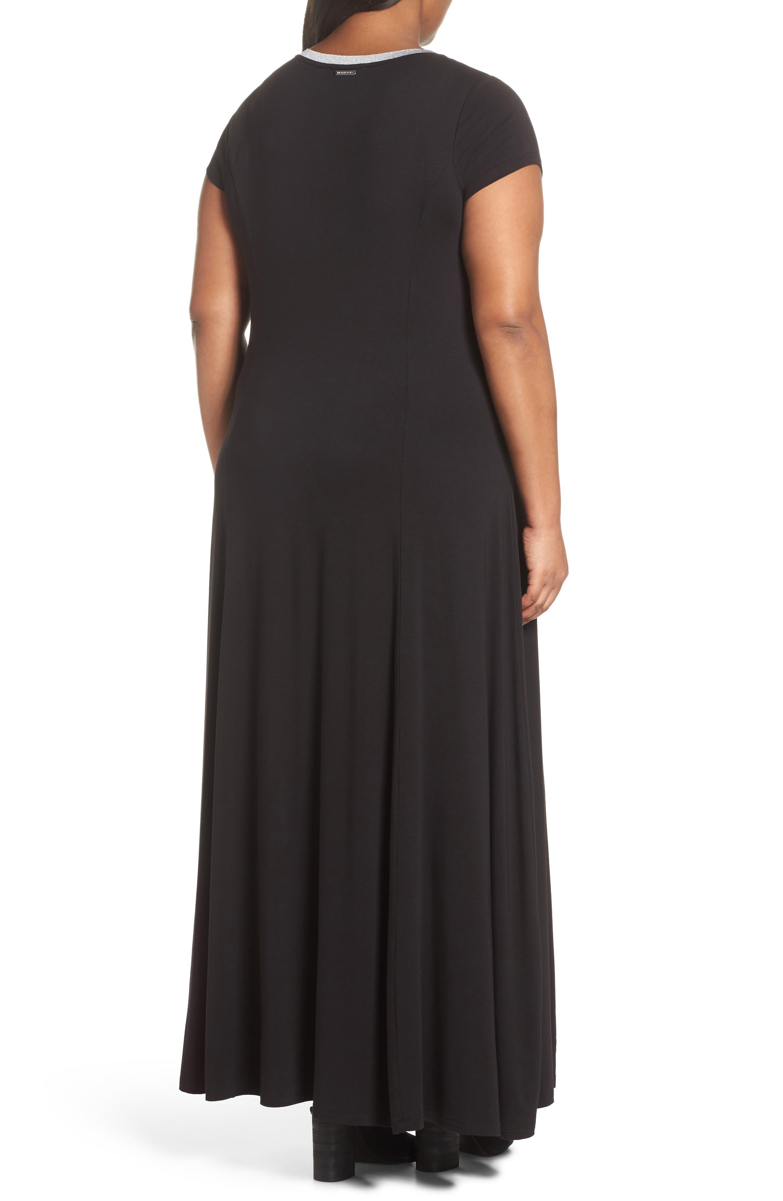 Metallic Crewneck Maxi Dress,                             Alternate thumbnail 2, color,                             Black