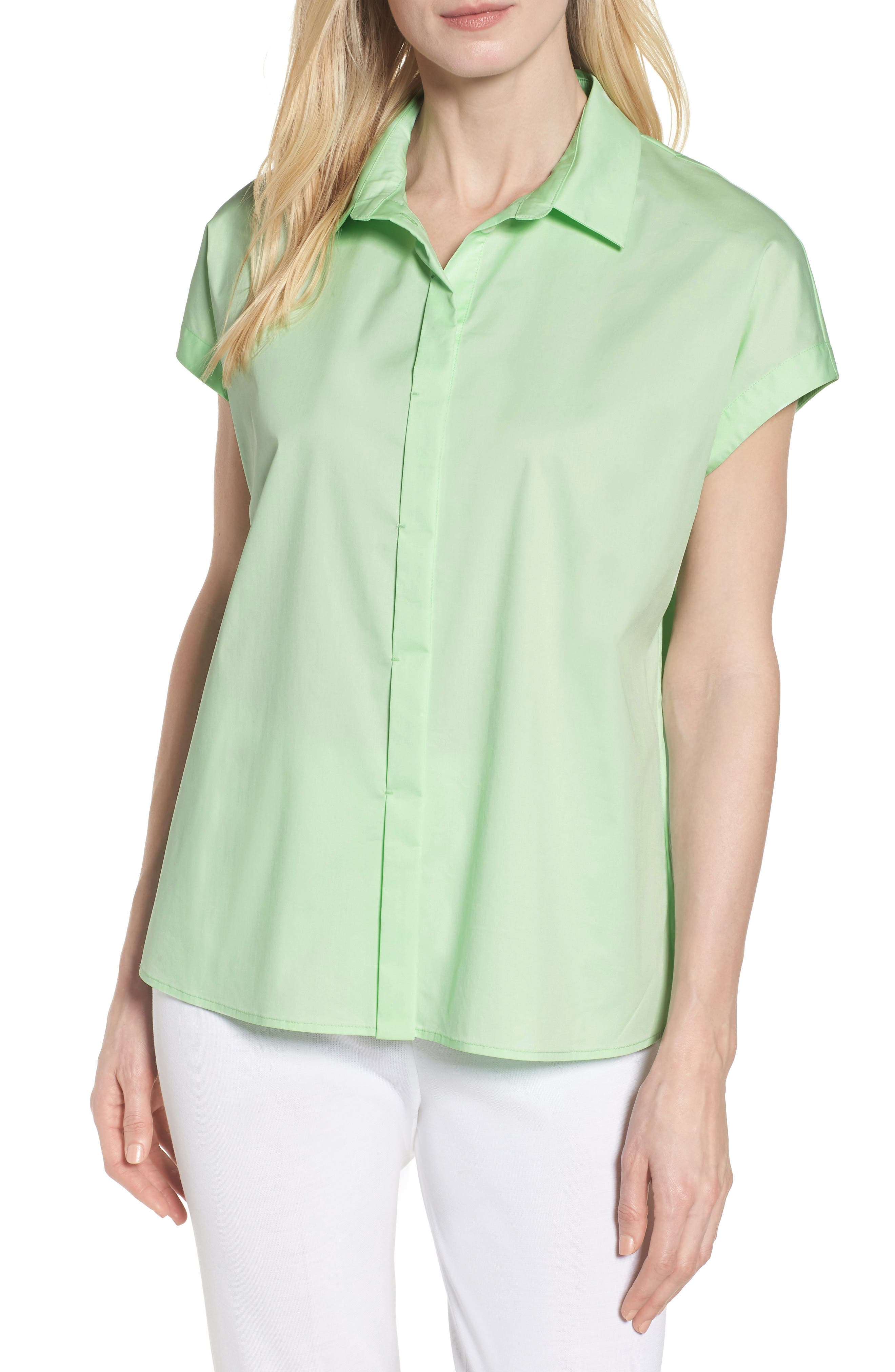 Cap Sleeve Blouse,                         Main,                         color, Mint