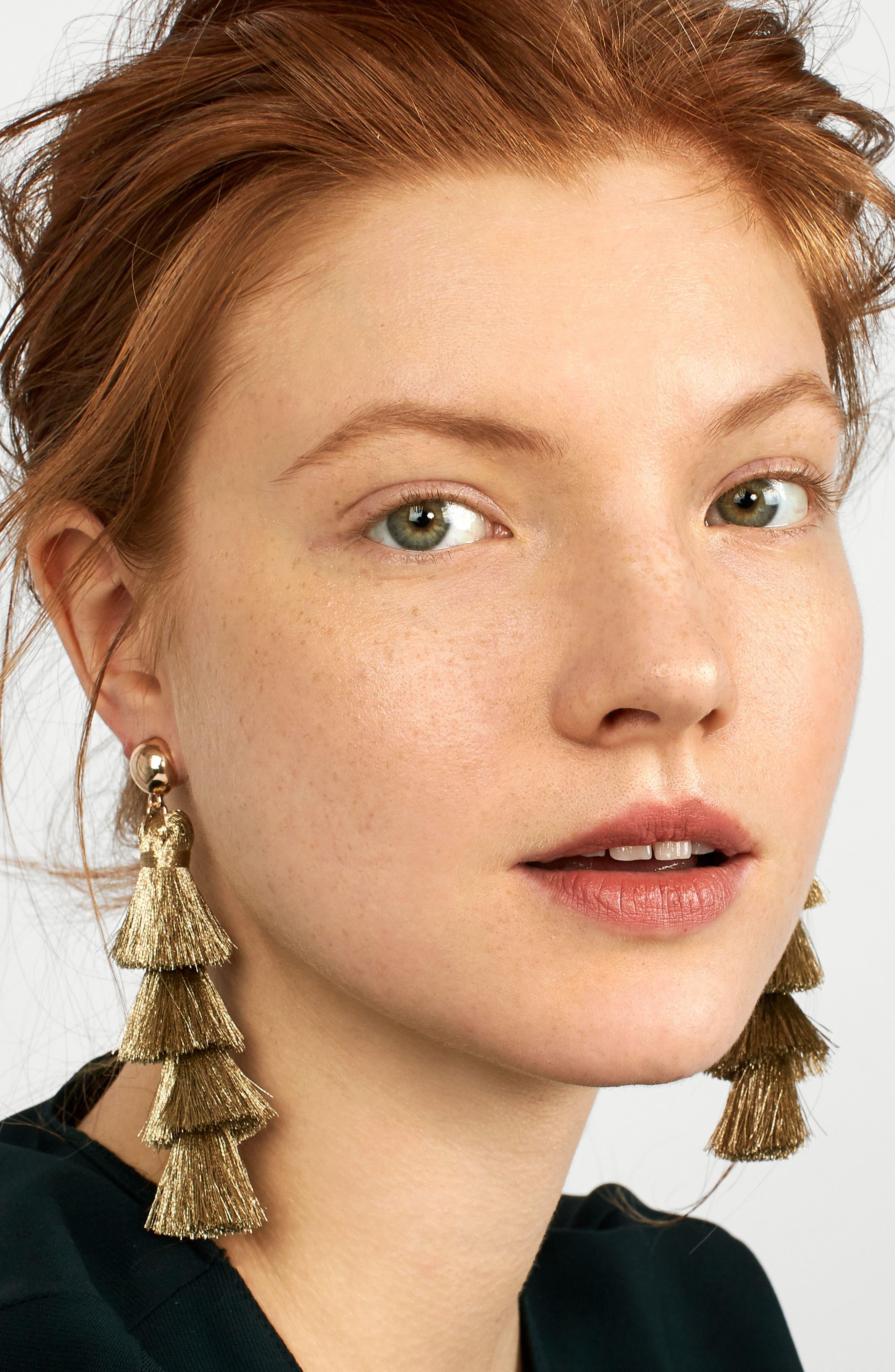 Gabriela Fringe Tassel Earrings,                             Alternate thumbnail 2, color,                             Gold