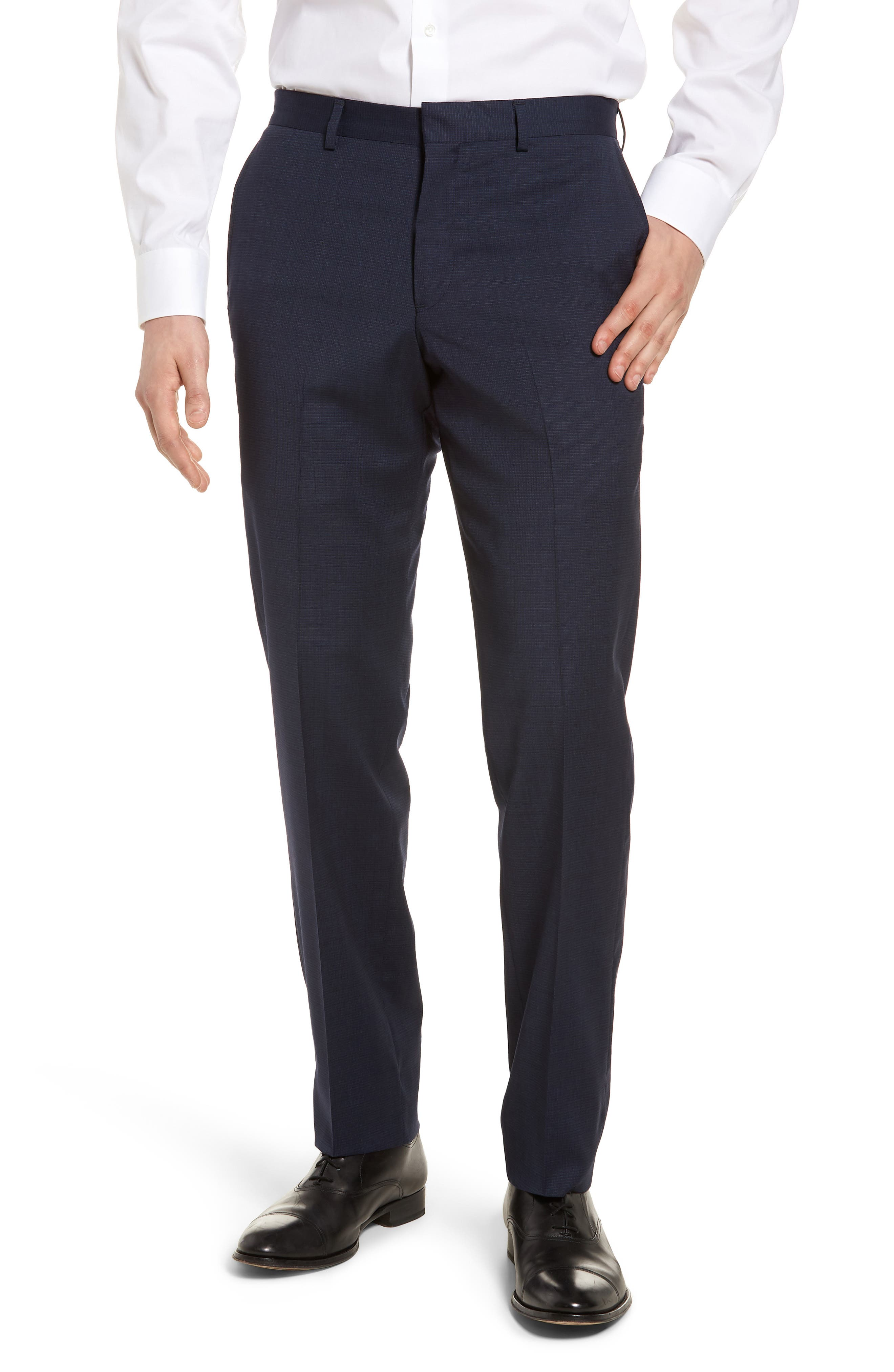 Tech-Smart Flat Front Stretch Wool Pants,                         Main,                         color, Navy