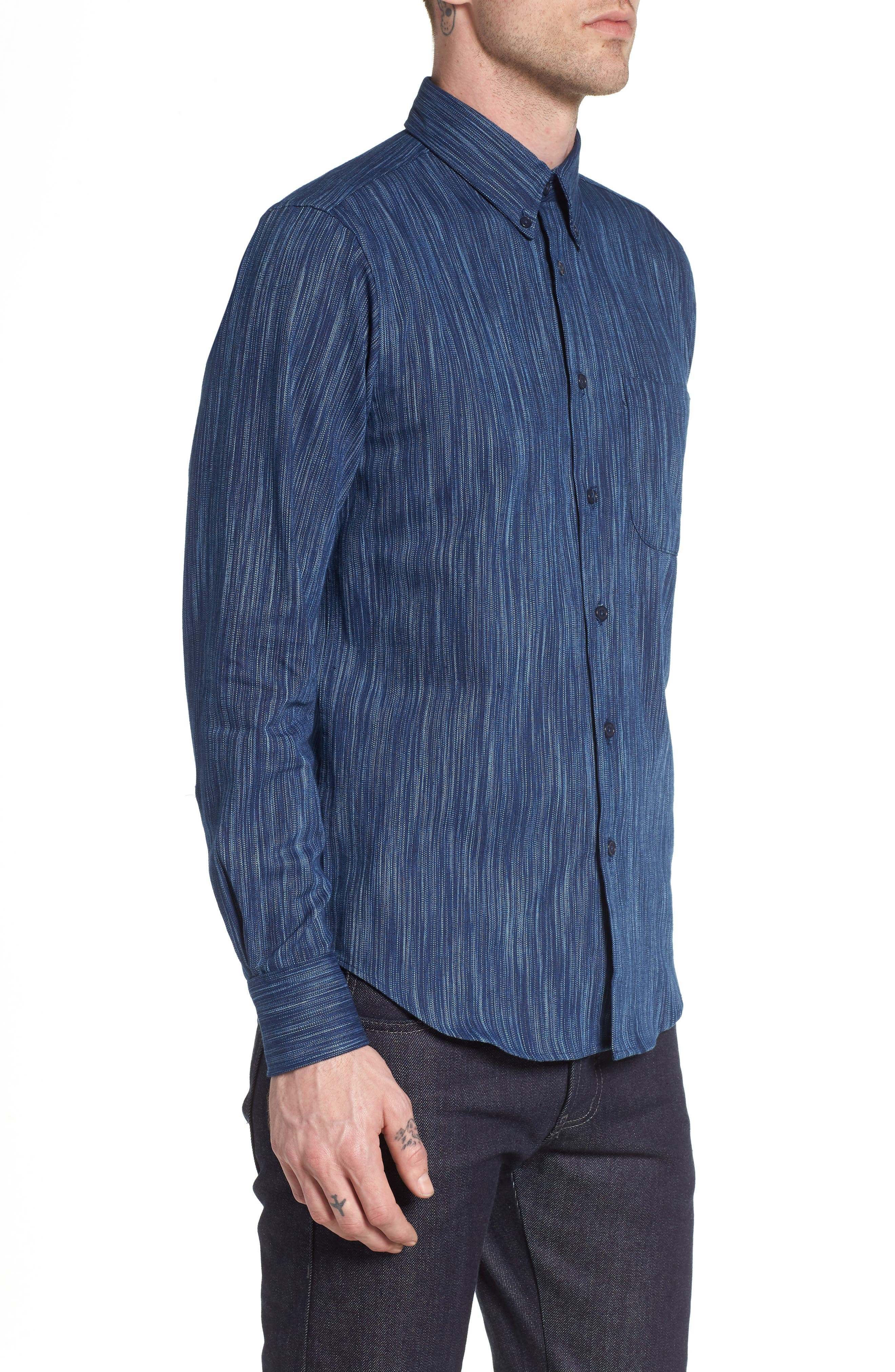 Indigo Tie Dye Rain Weave Shirt,                             Alternate thumbnail 3, color,                             Blue