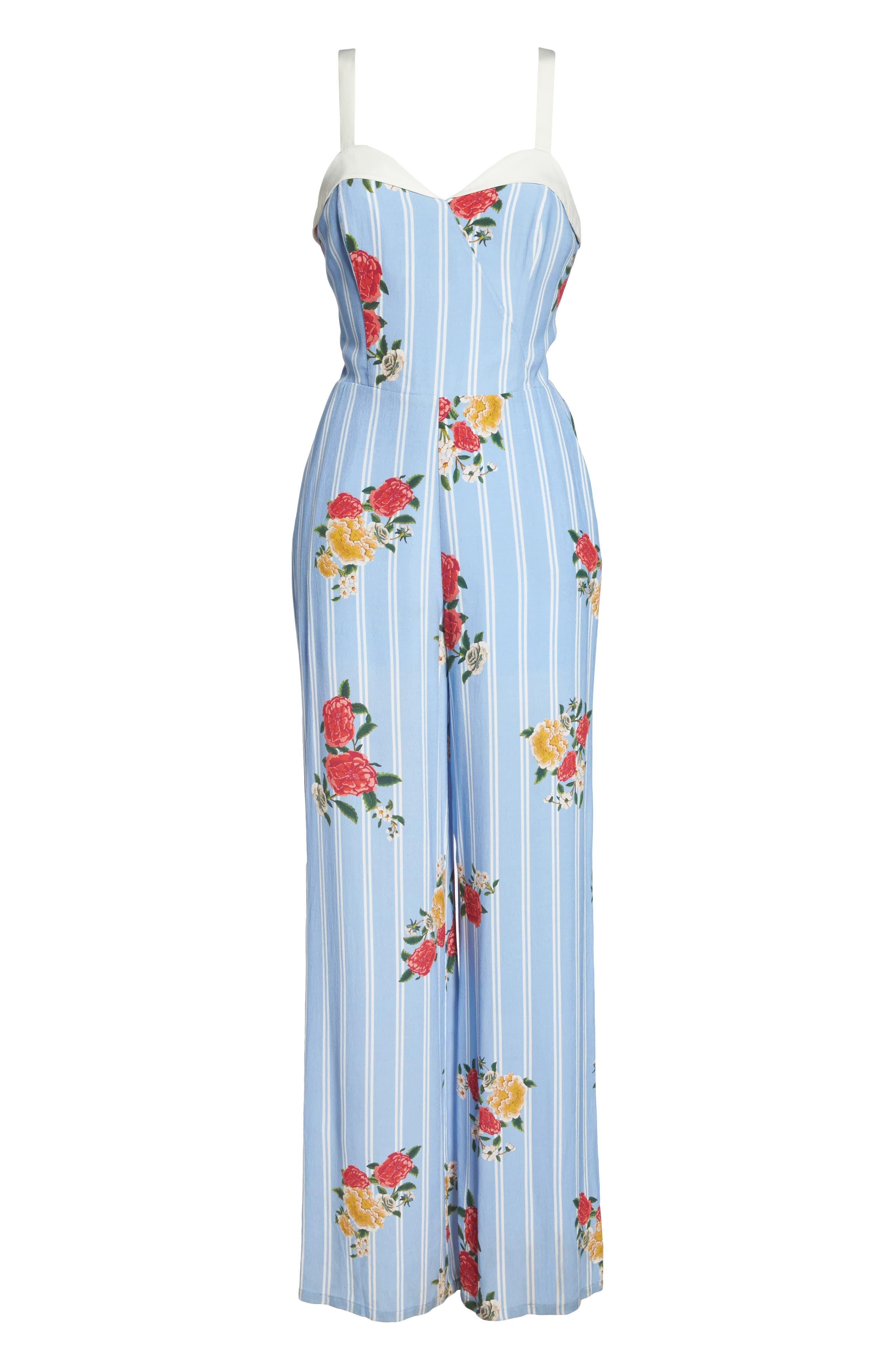 Iris Floral Print Jumpsuit,                             Alternate thumbnail 6, color,                             Azure Blue Multi